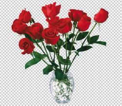 Клипарт цветы - букет красных роз в вазе, для Фотошоп в ...