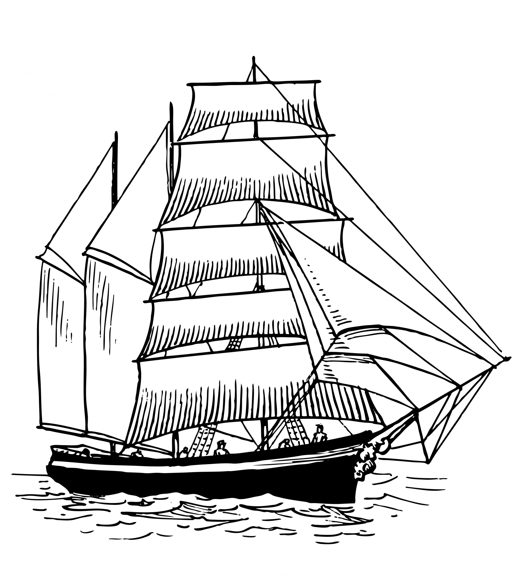 Ship Clip Art Black And White Line Only Free