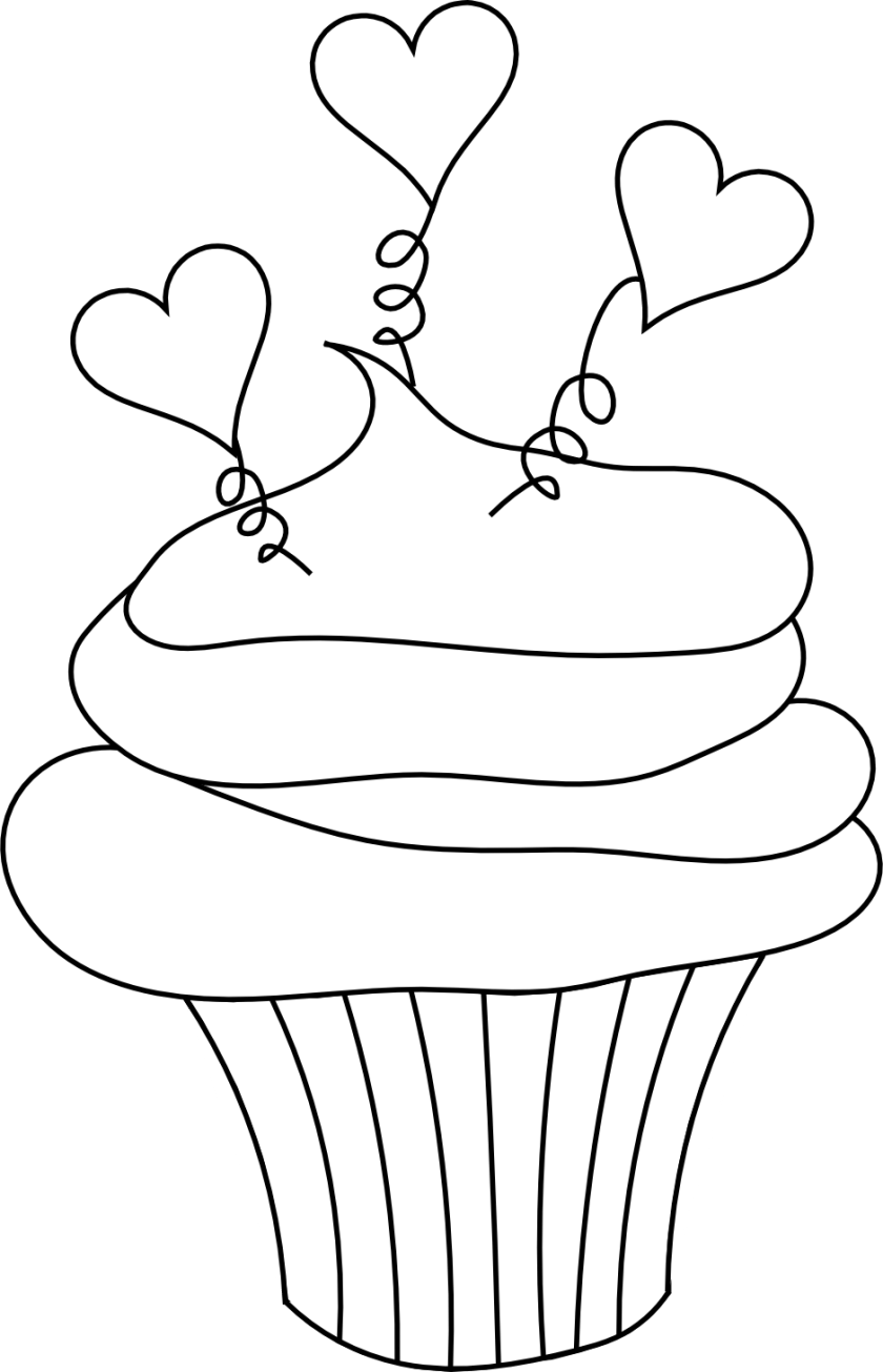 best cupcake clipart black and white #5210  clipartion