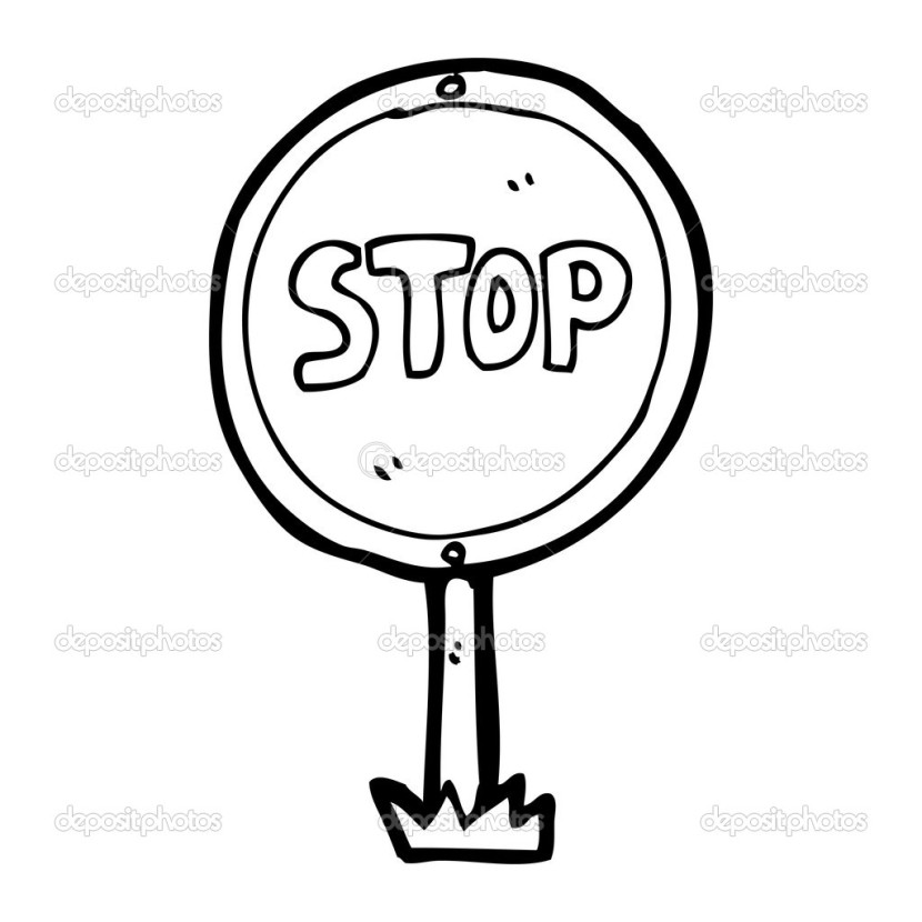 stop sign black and white  clipartion