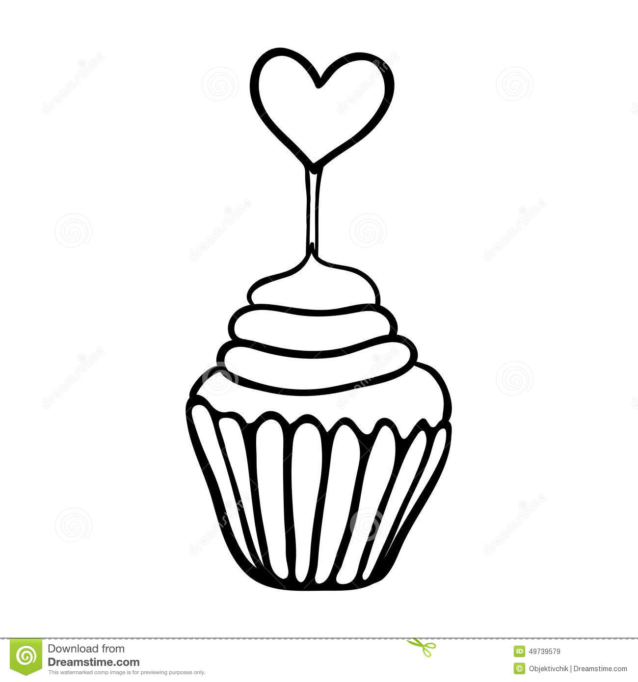 Cupcake Black And White Drawing