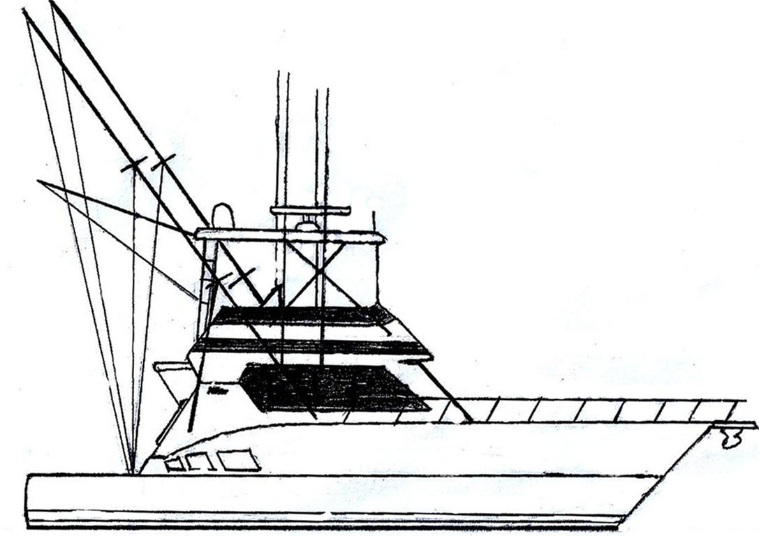 Fishing Boat Line Drawing