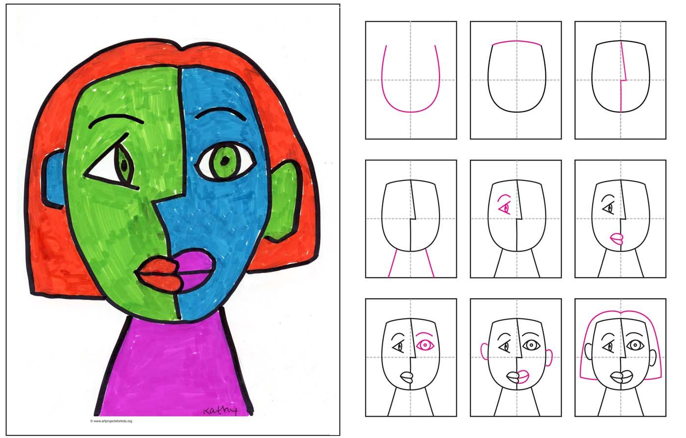 Picasso Face Drawing