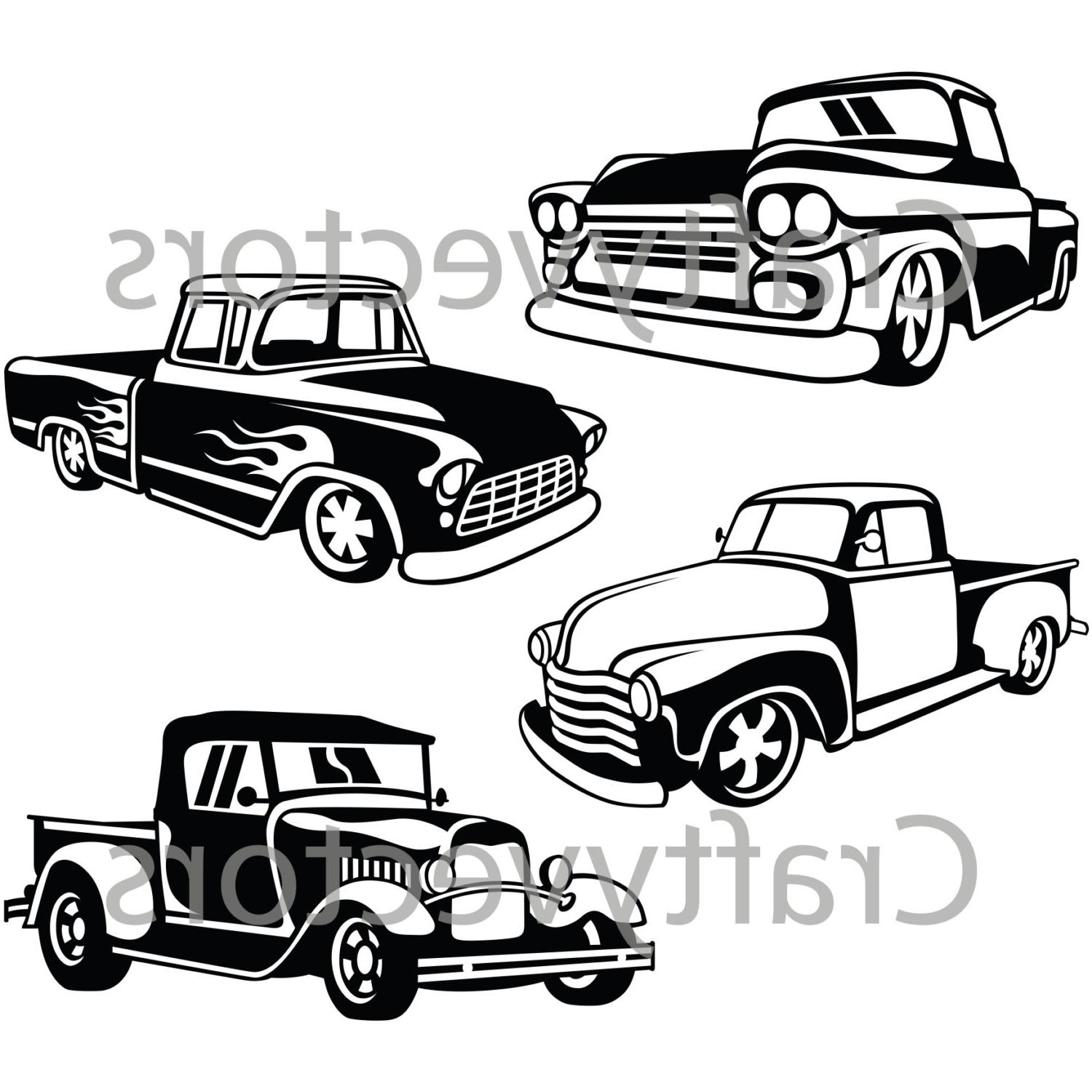 Pickup Truck Outline Drawing