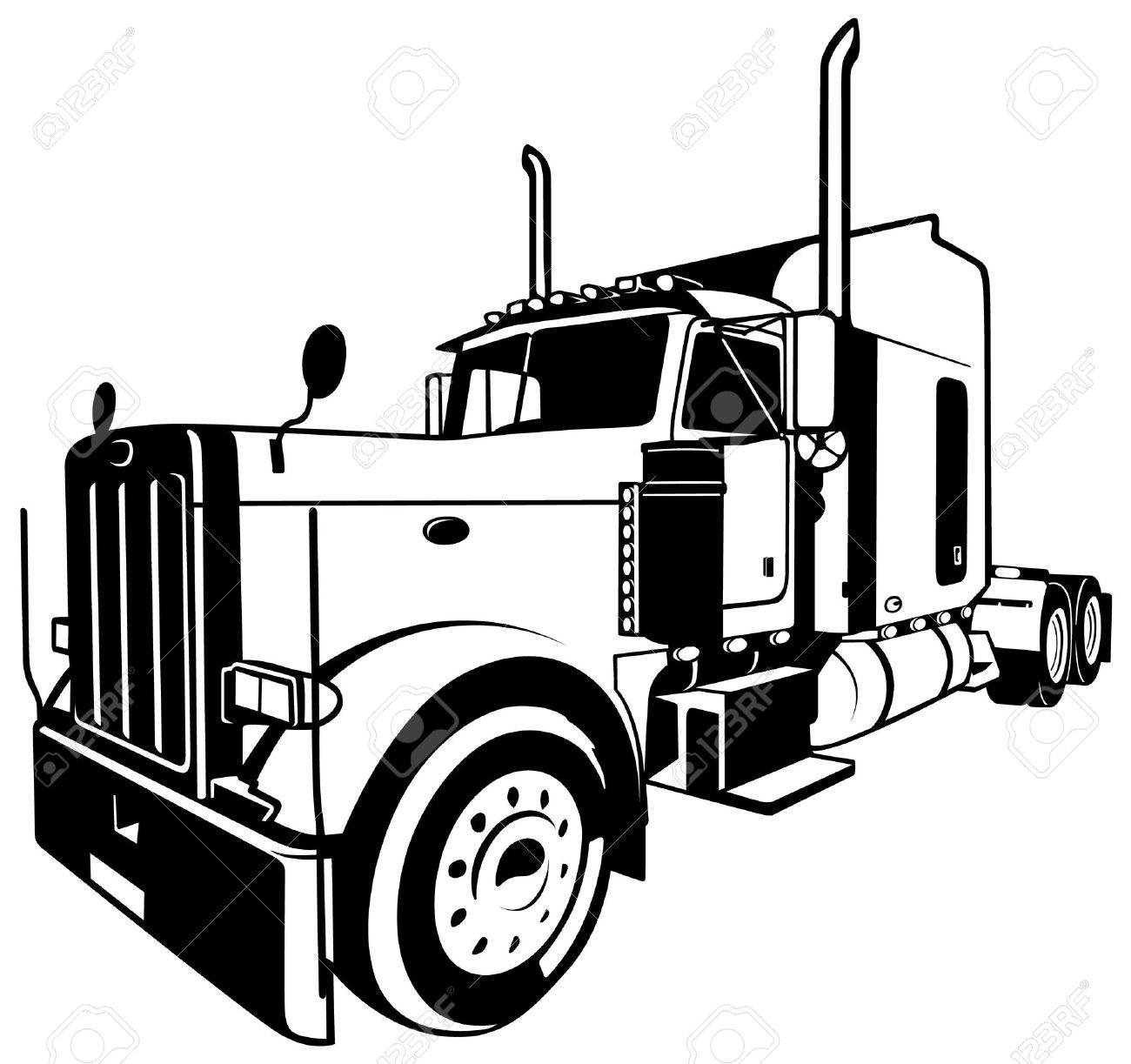 Semi Truck Drawing
