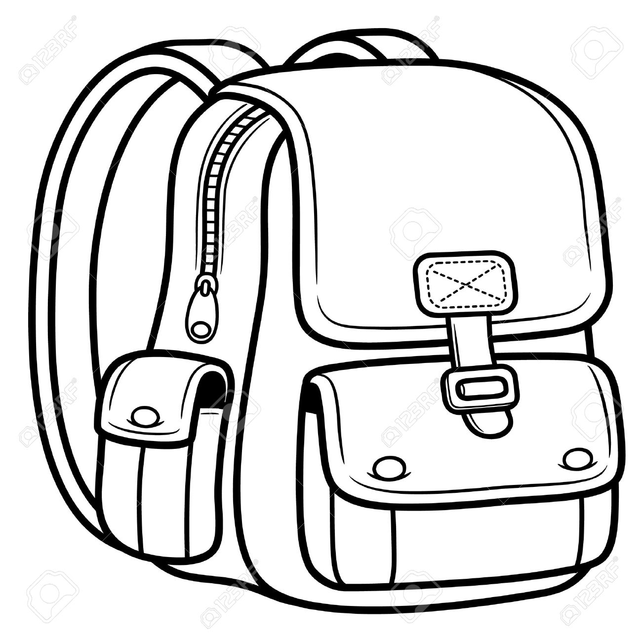 Black And White Backpack Clipart