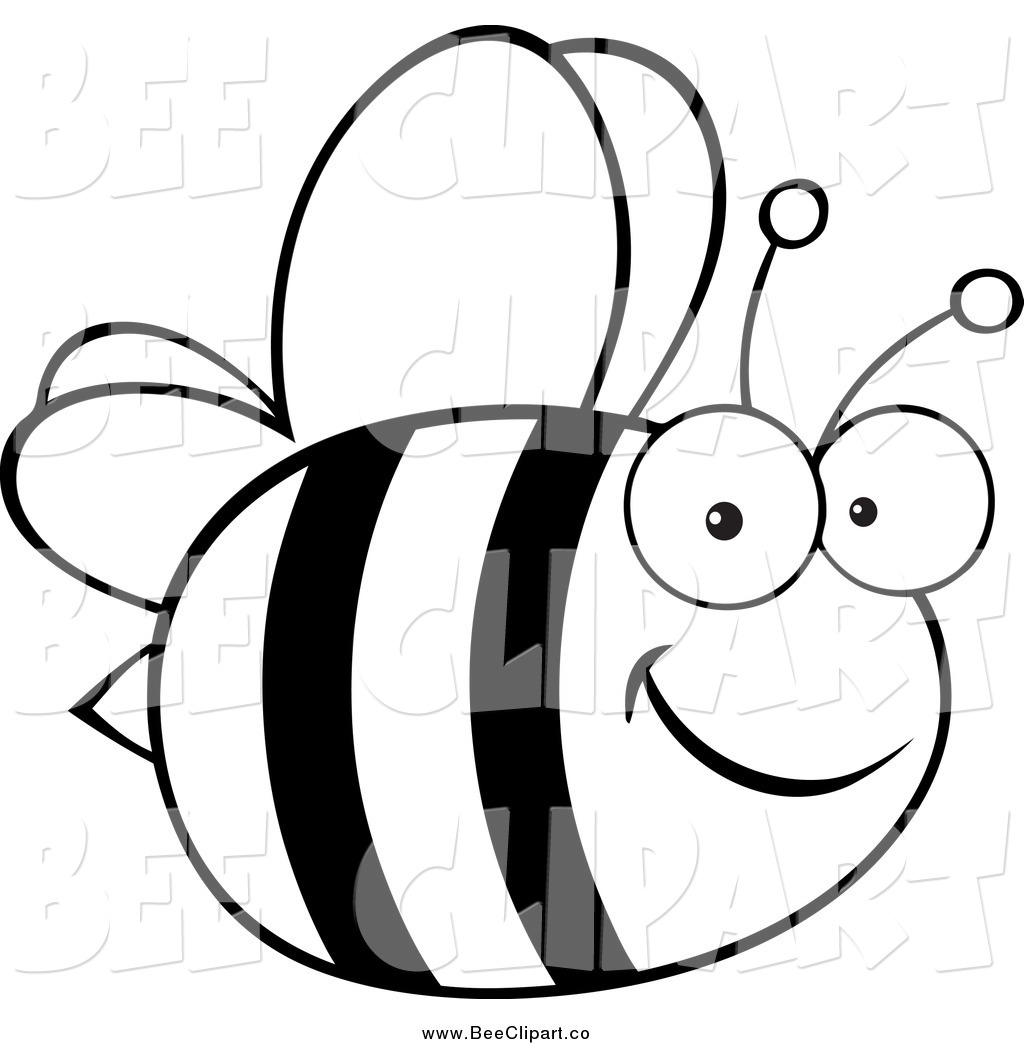 Black And White Bee Clipart