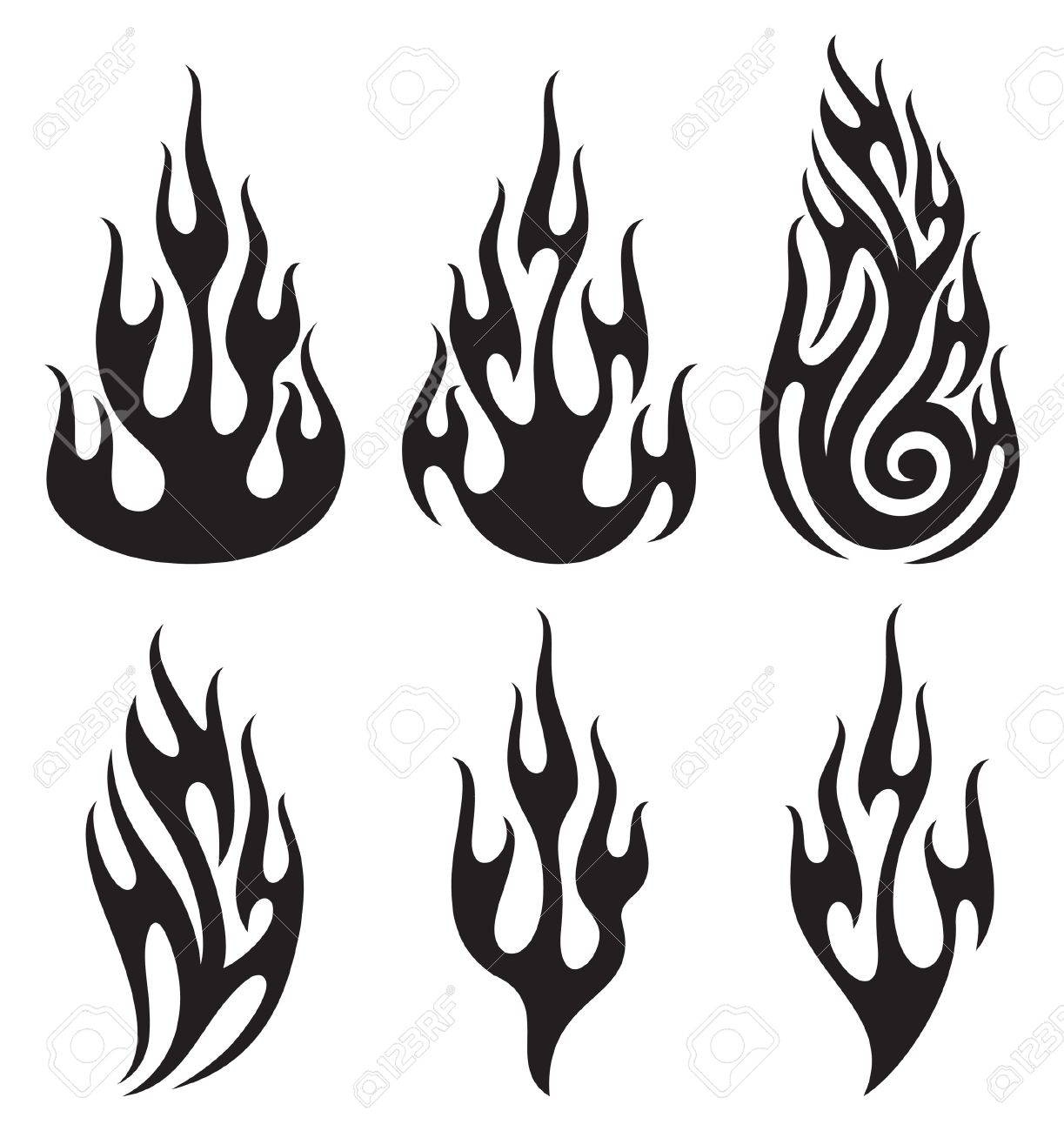 Black And White Flame Clipart