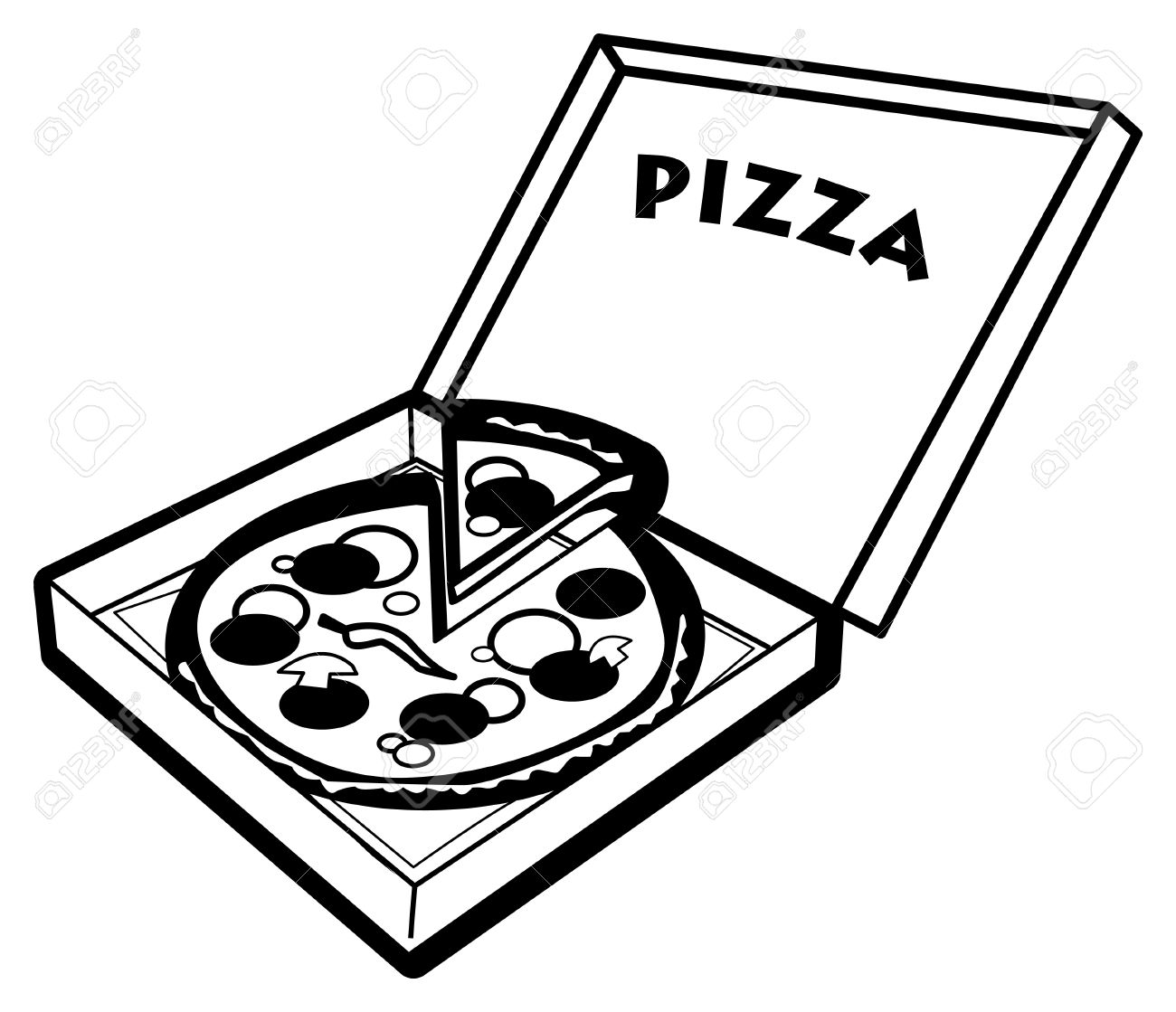 Black And White Pizza Clipart