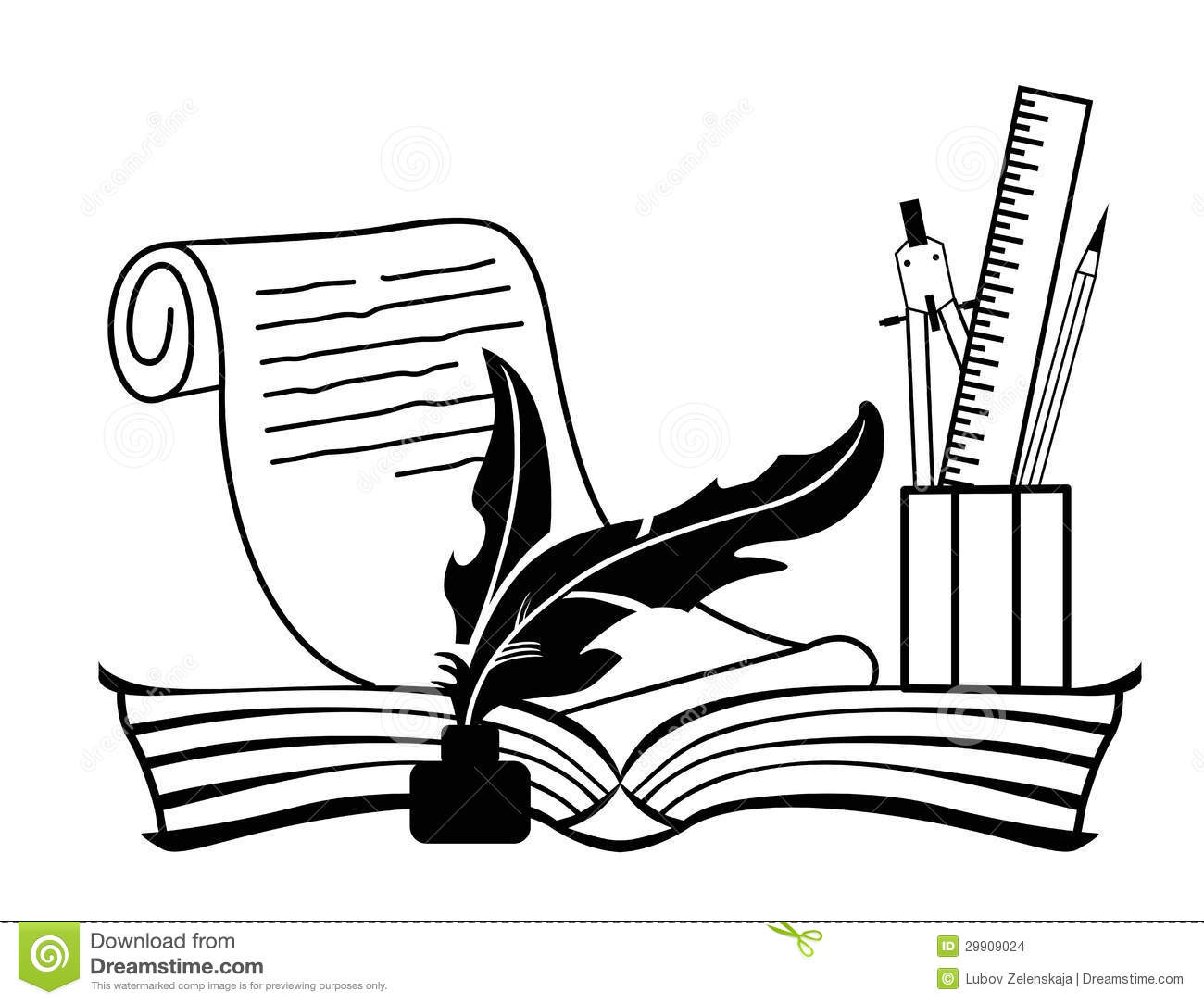 Book And Pen Clipart