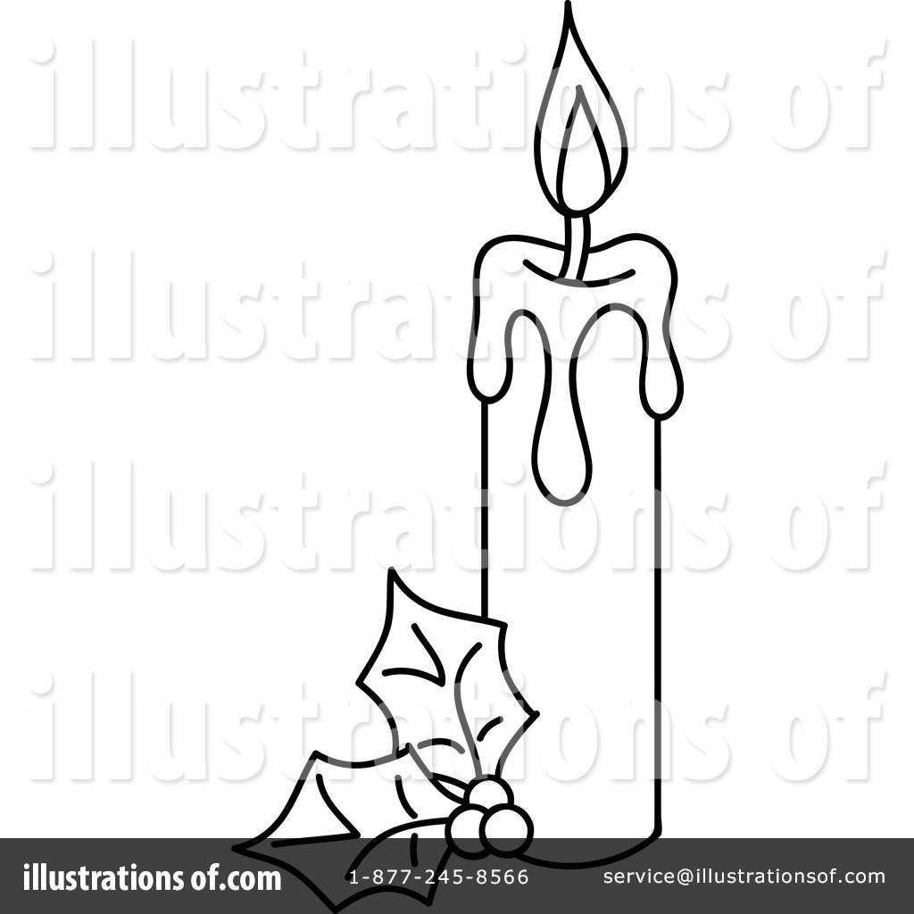 Christmas Candle Clipart Black And White
