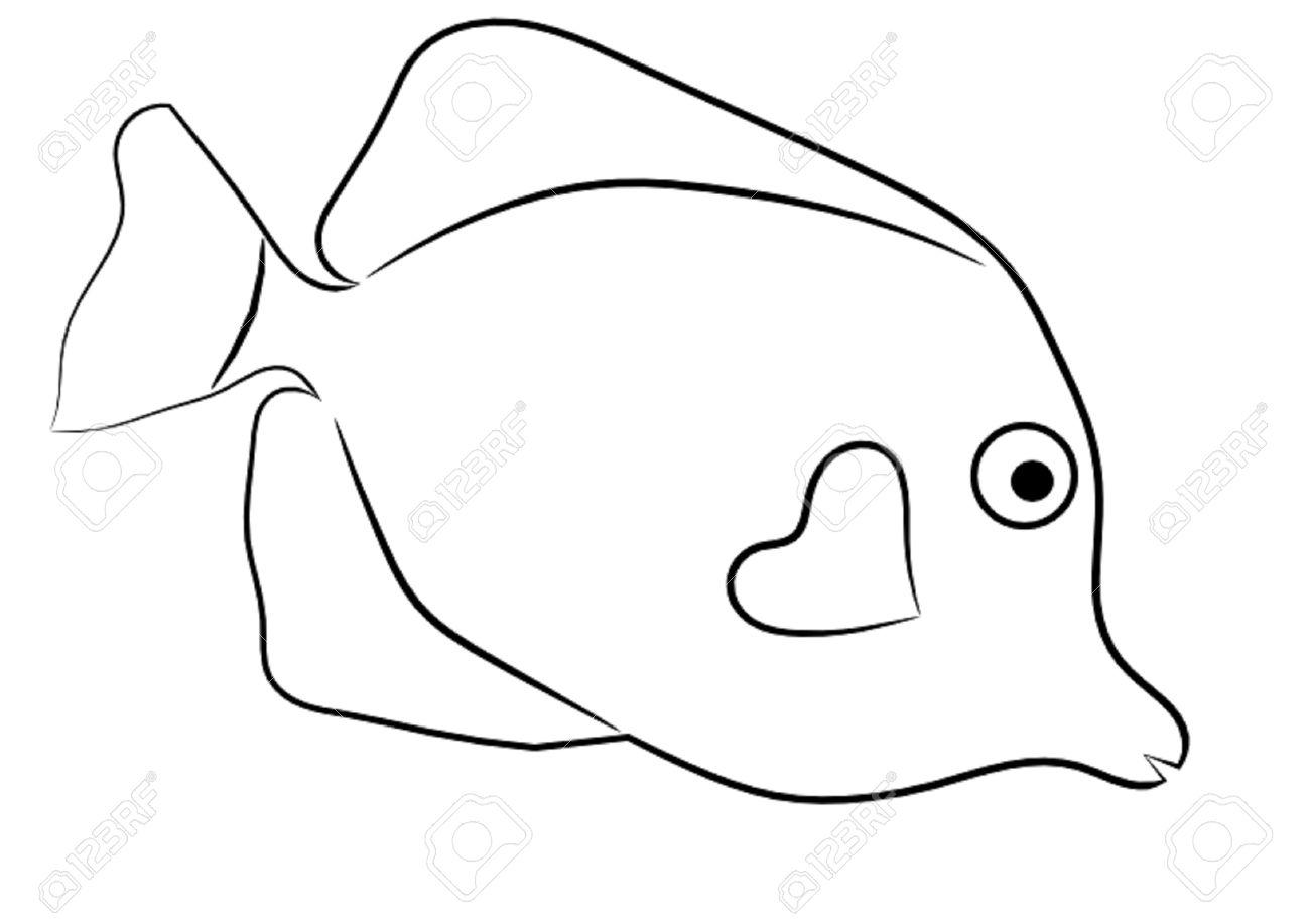 Clown Fish Clipart Black And White