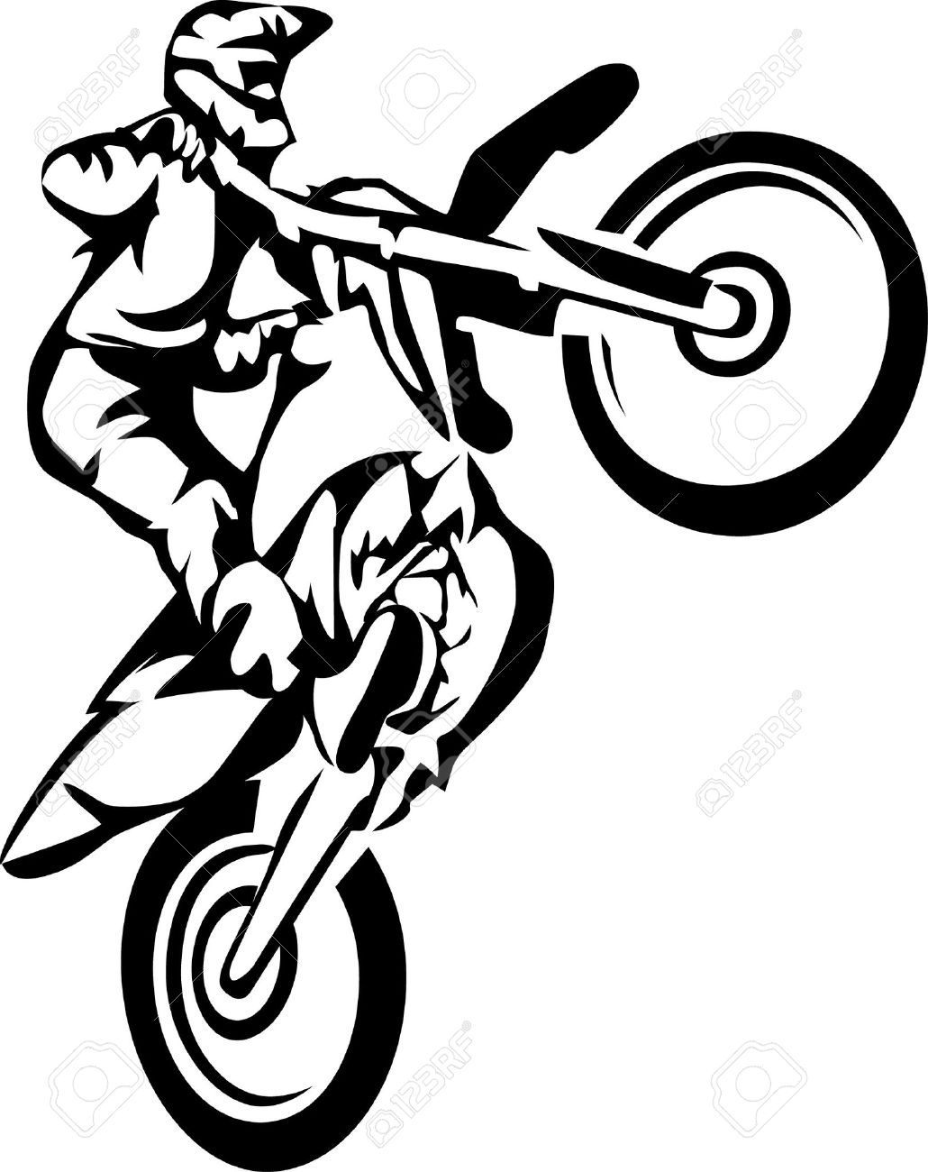 Dirt Bike Clipart Black And White