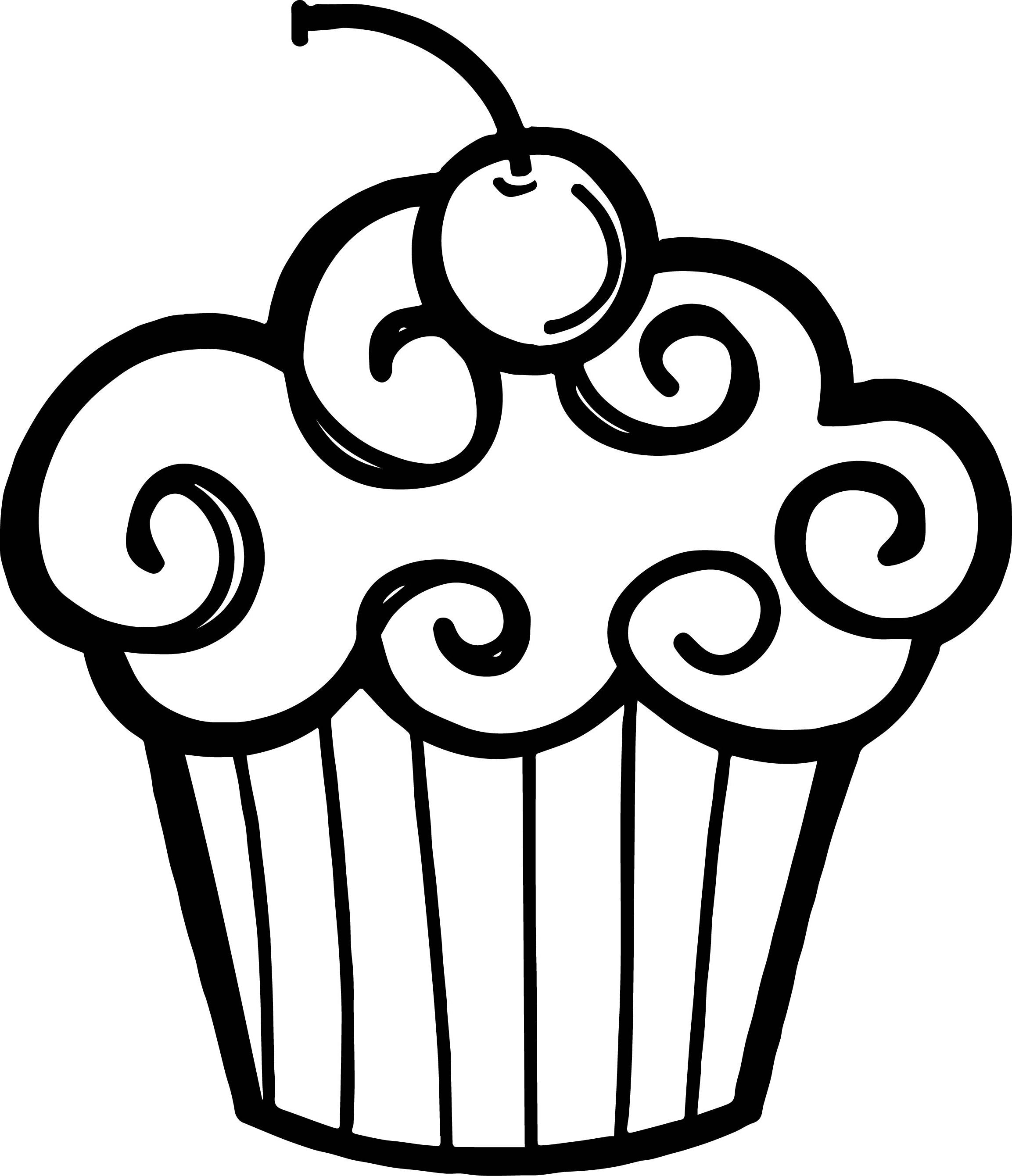 Free Cupcake Clipart Black And White