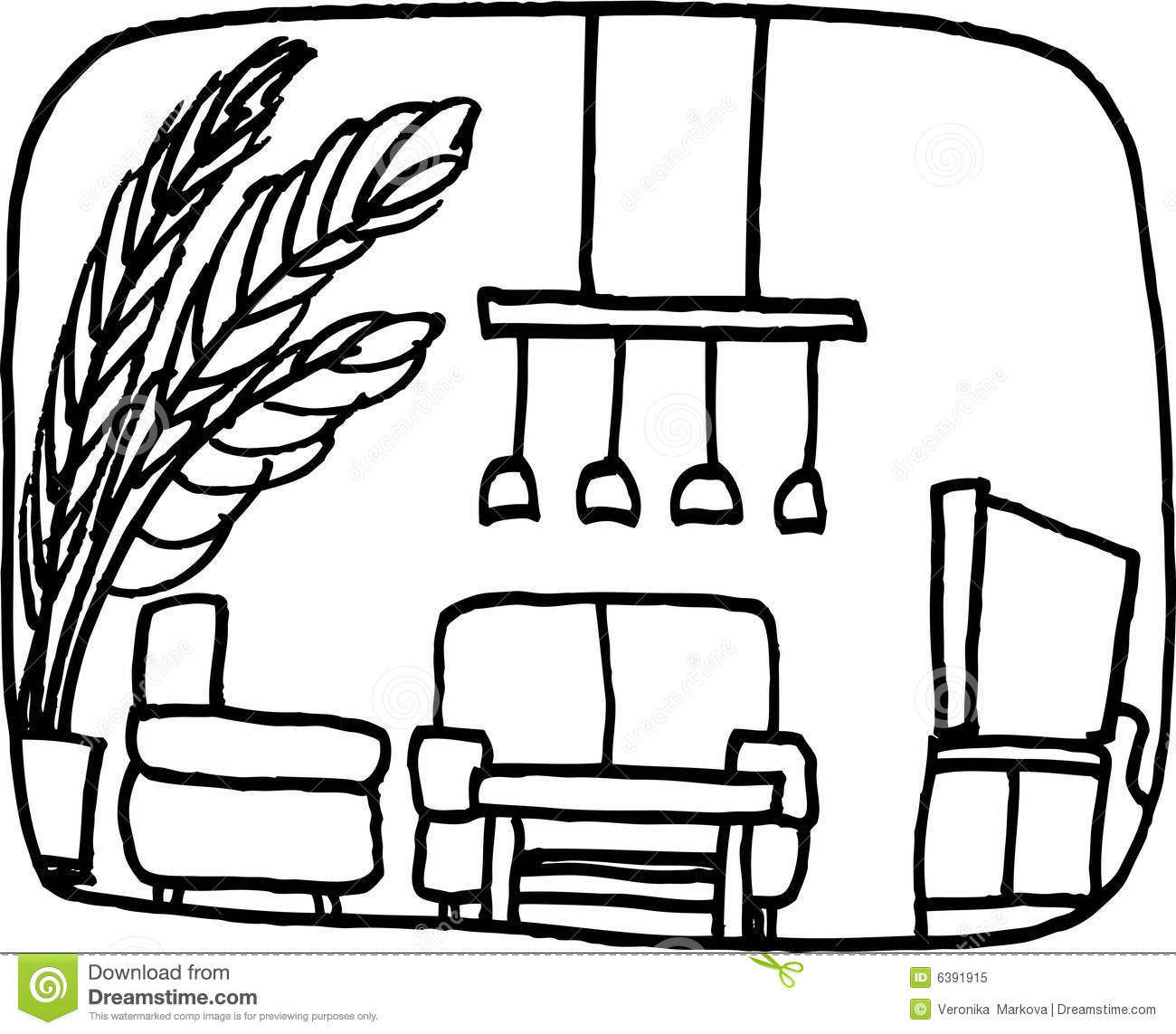 Furniture Clipart Black And White