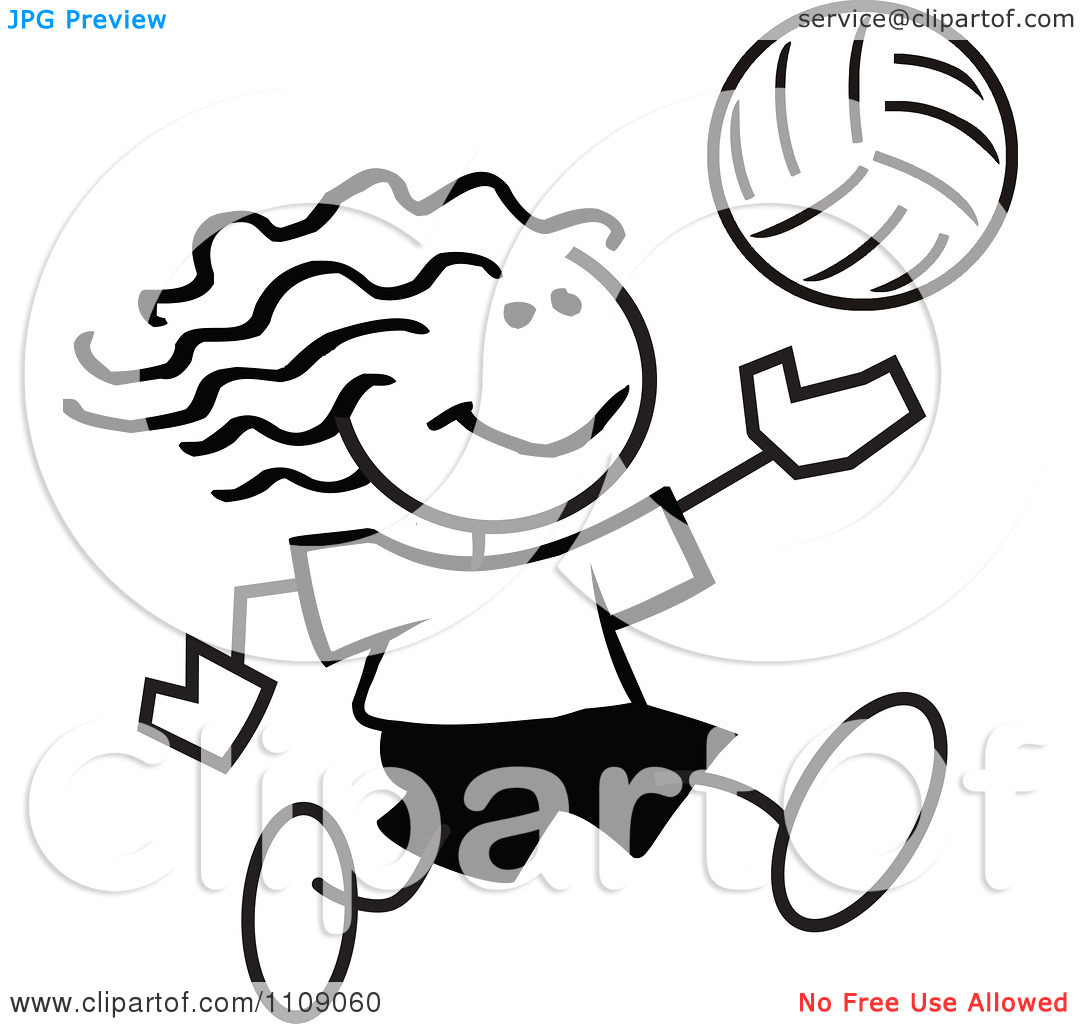 Girl Playing Volleyball Clipart