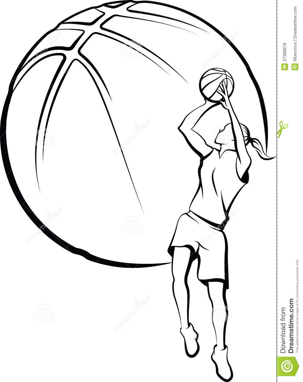Girls Basketball Clipart Black And White