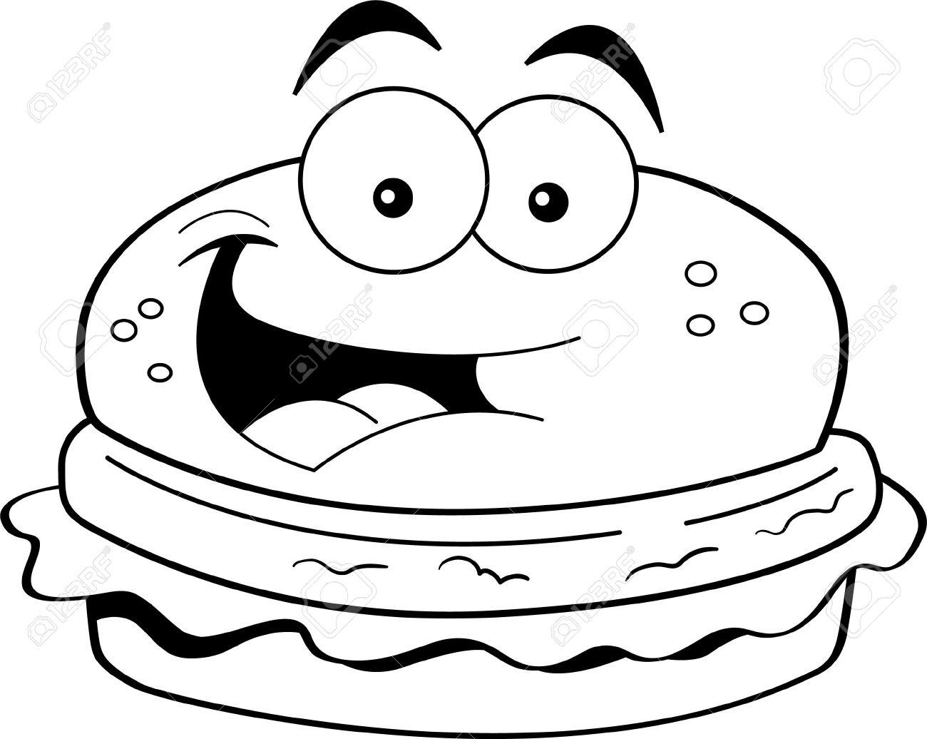 Hamburger Clipart Black And White