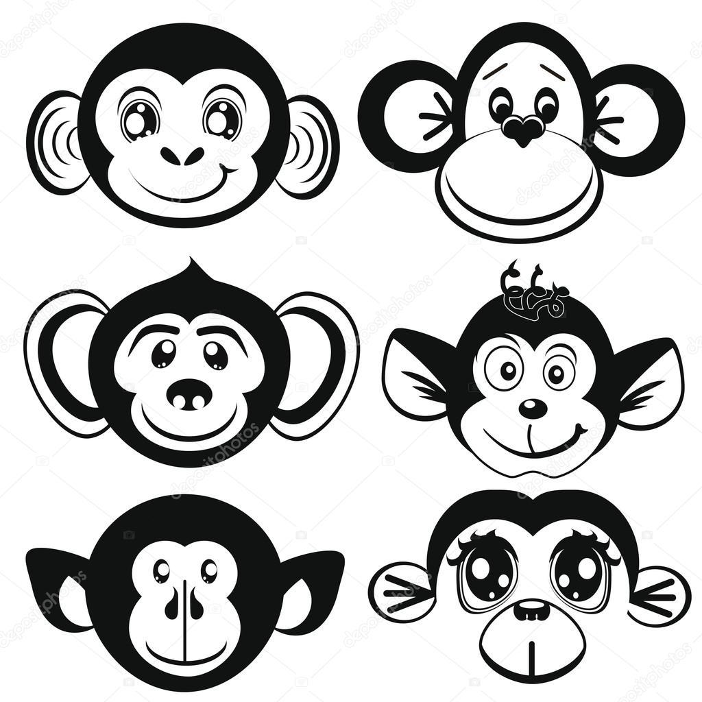 Monkey Black And White Clipart