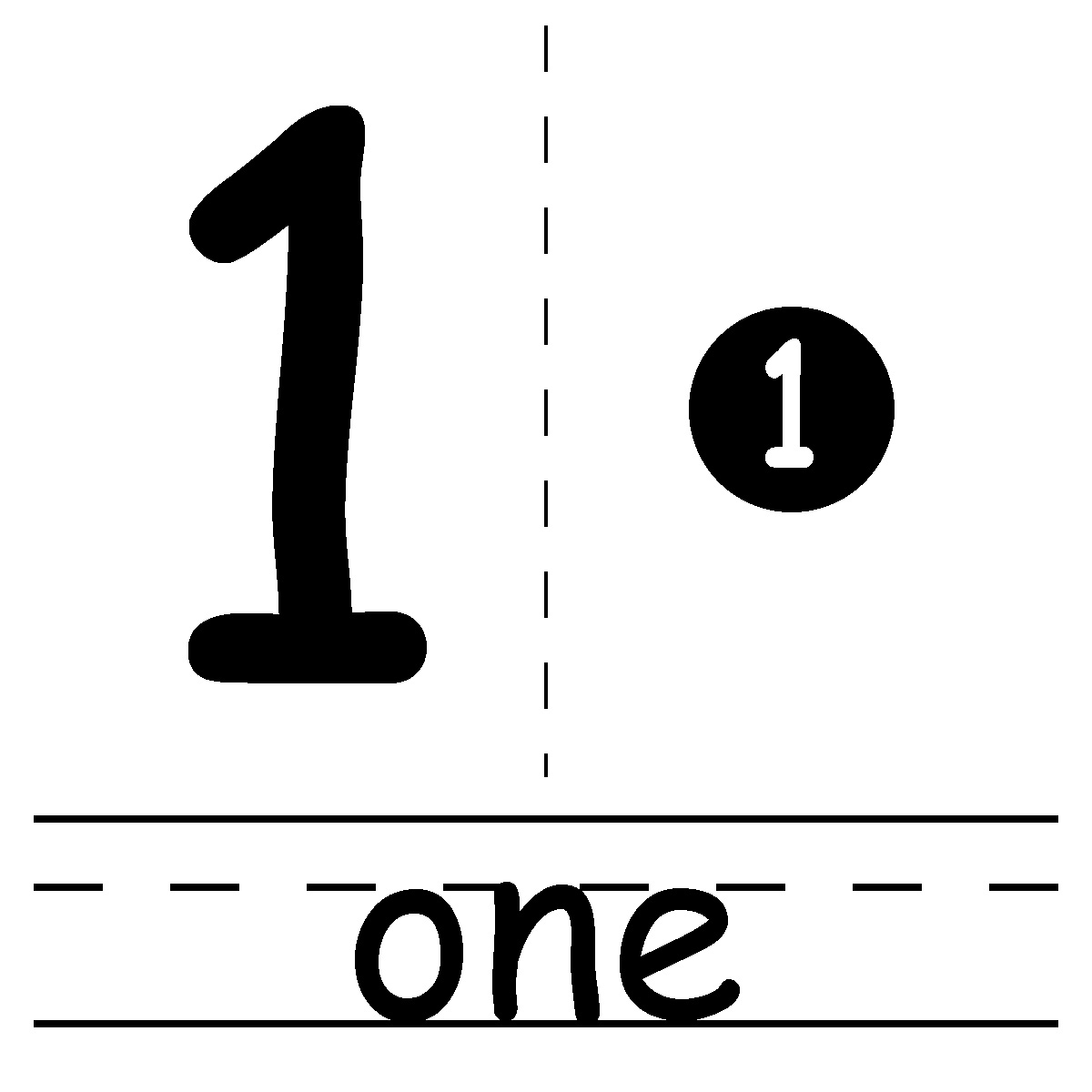 Number 1 Clipart Black And White
