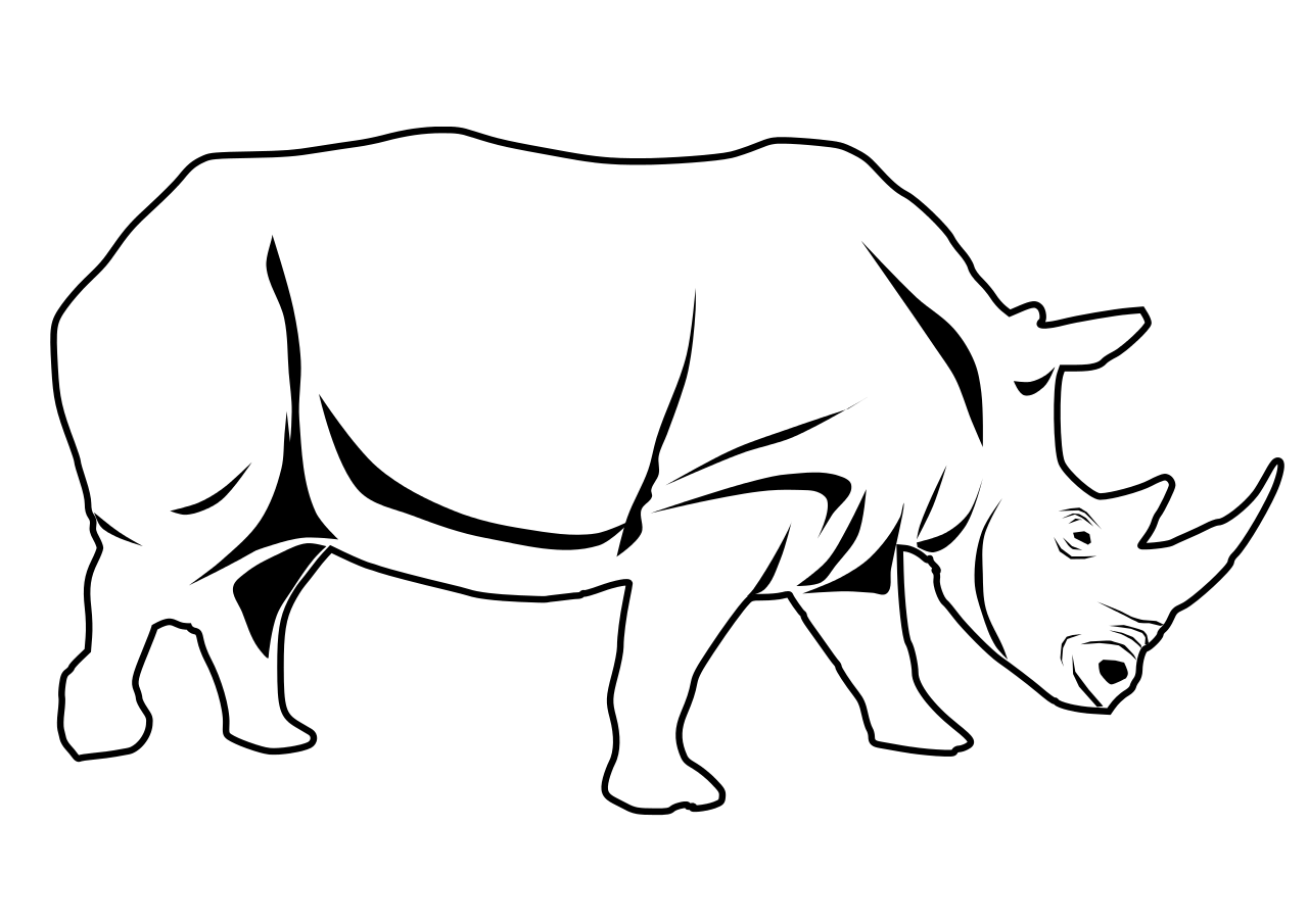 Rhino Clipart Black And White