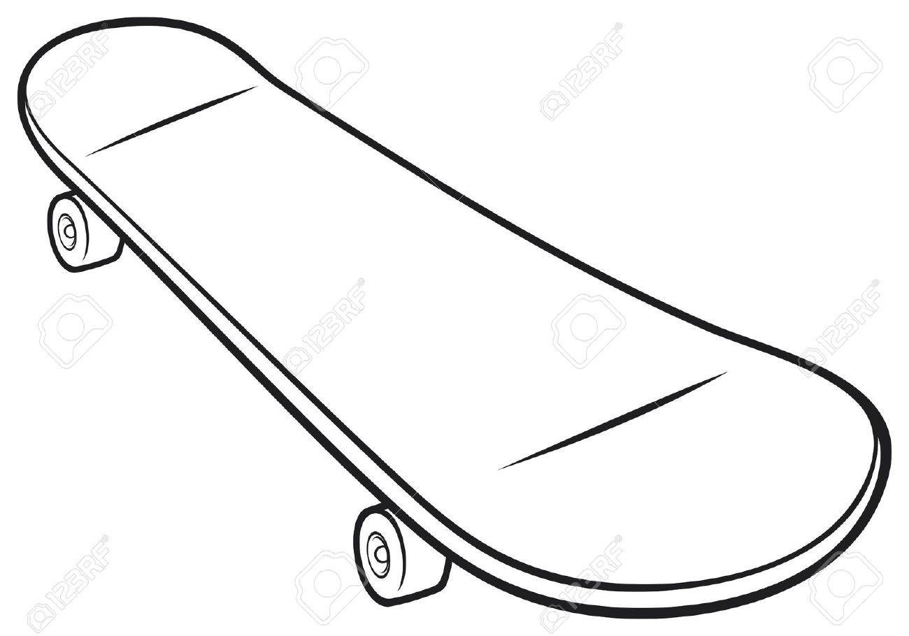 Skateboard Clipart Black And White