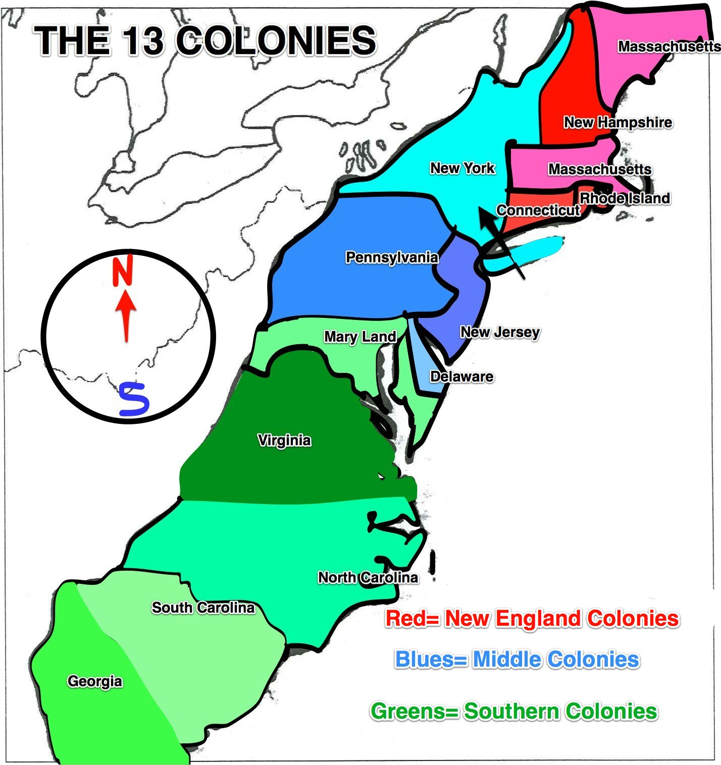 The 13 Colonies Clipart