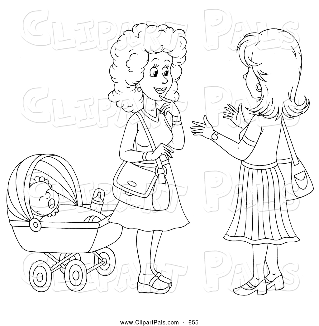 Pal Clipart Of A Coloring Page Outline Of Two Friendly Women Chatting By A Baby By Alex Bannykh