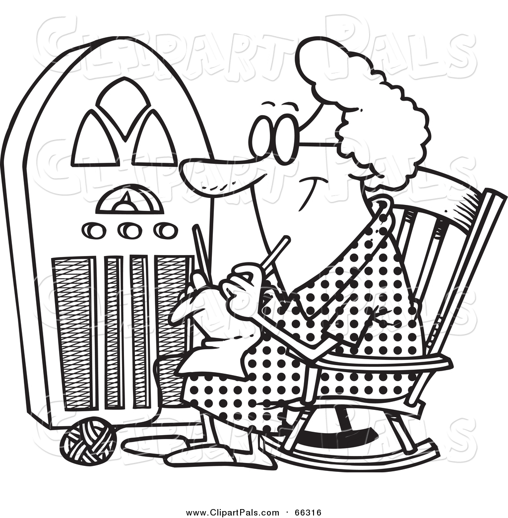 Pal Clipart Of A Lineart Granny Knitting By A Radio By