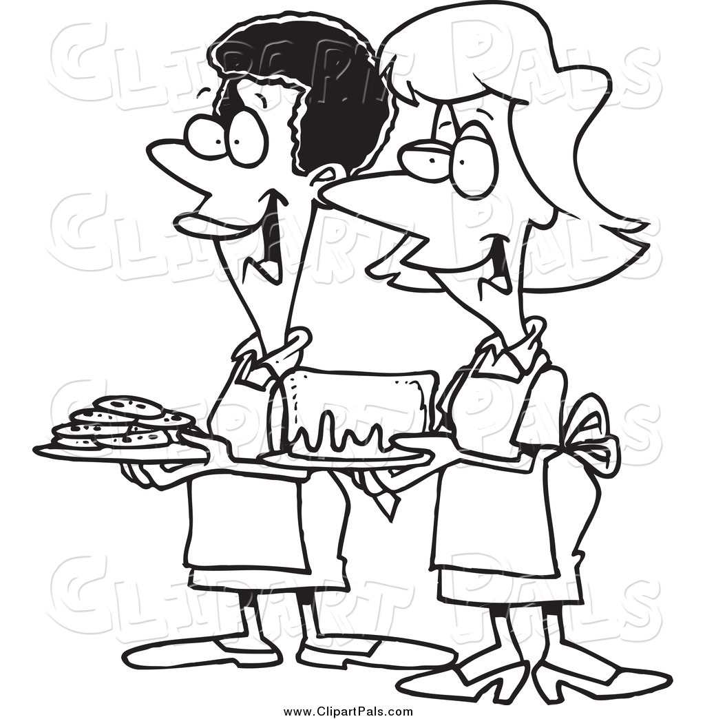 Pal Clipart Of Black And White Women At A Bake Sale By
