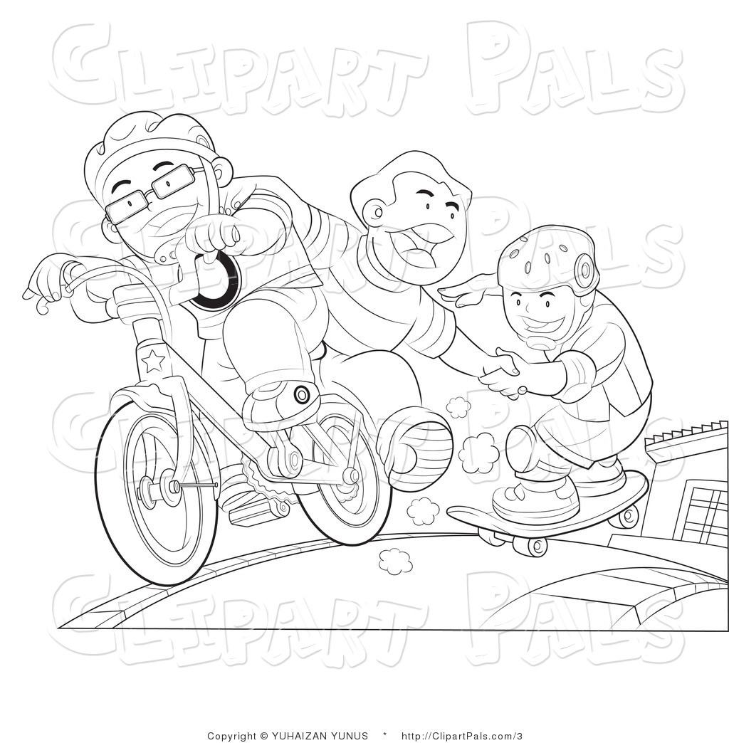 Pal Clipart Of Outlined Kids Skateboarding And Riding A