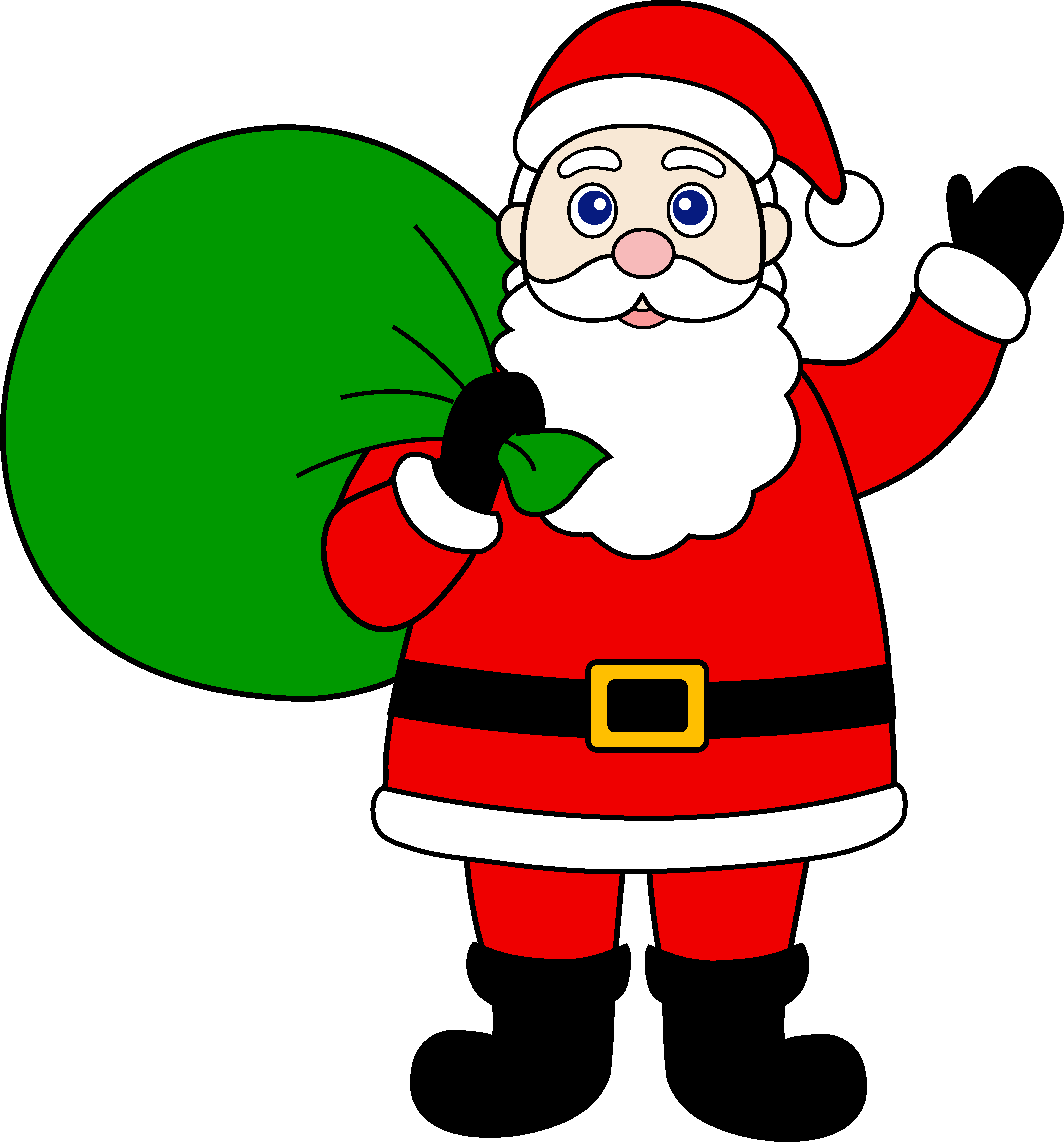 Santa Claus And Elves To Color