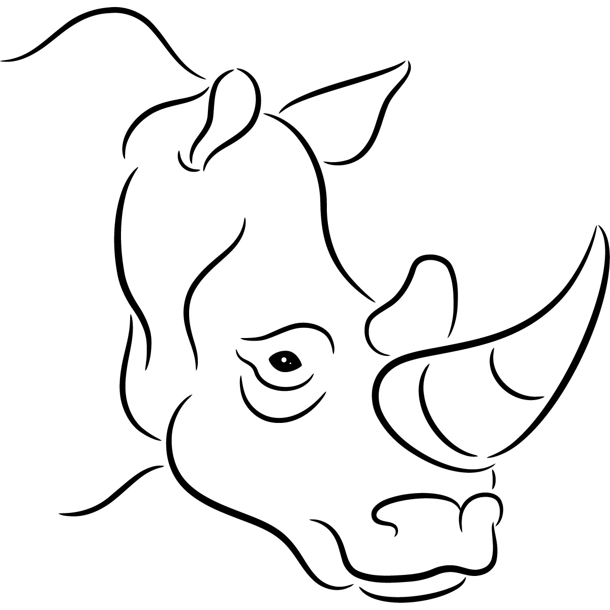 Head Rhinoceros Outline Wild Animals Wall Art Stickers