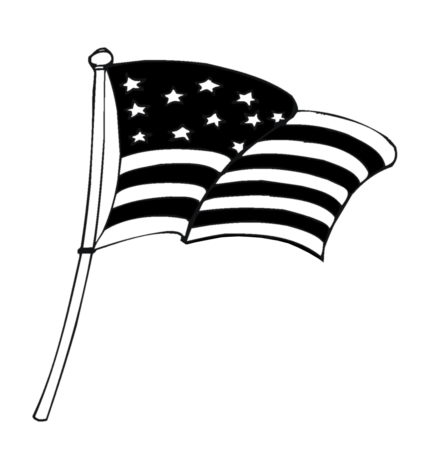 American Flag Clip Art Black And White