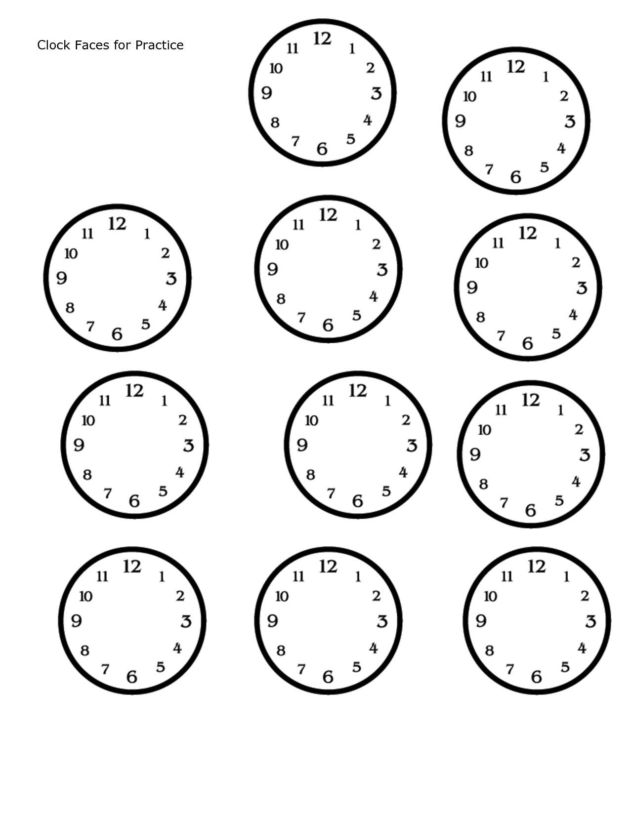 Blank Clock Face Printable