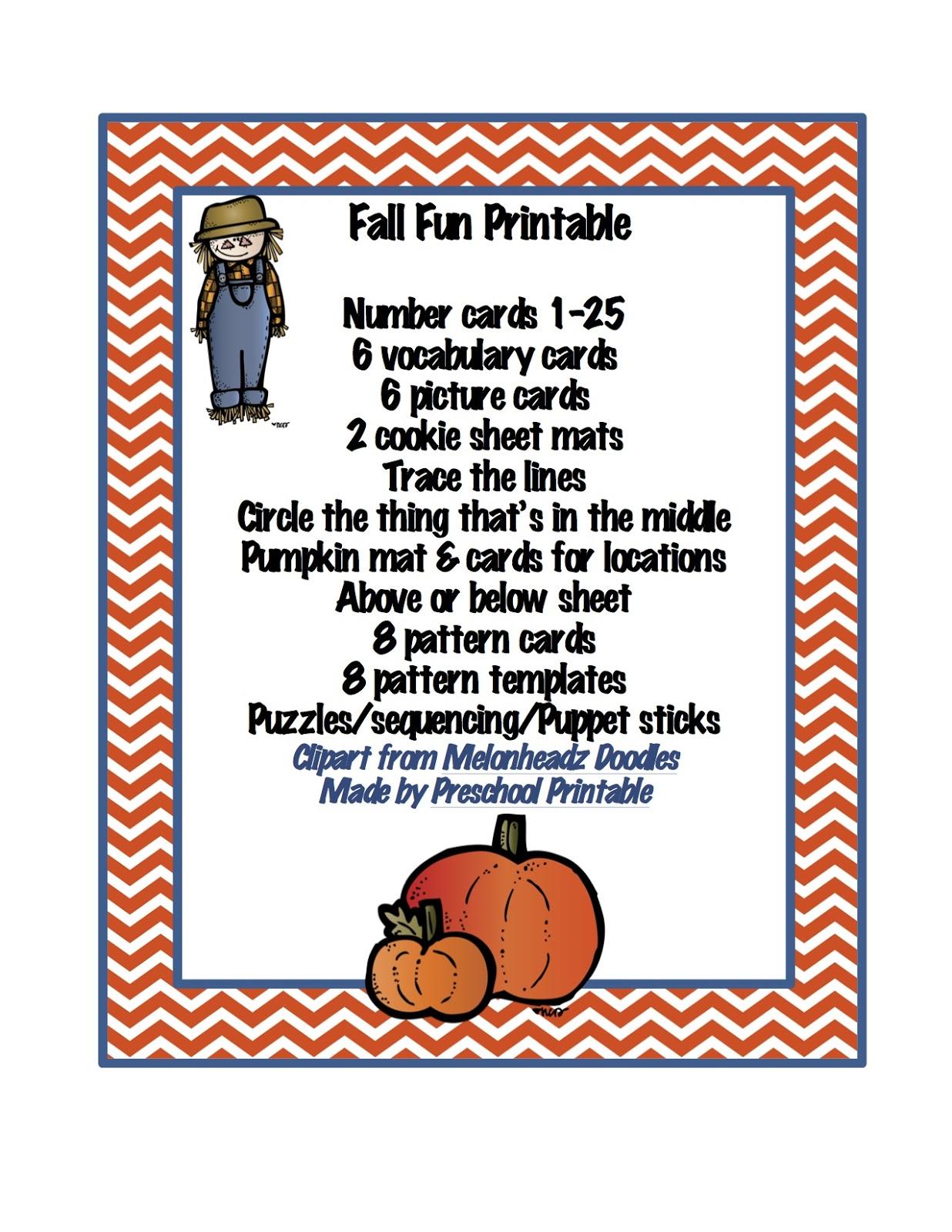 Preschool Printables Fall Fun Printable