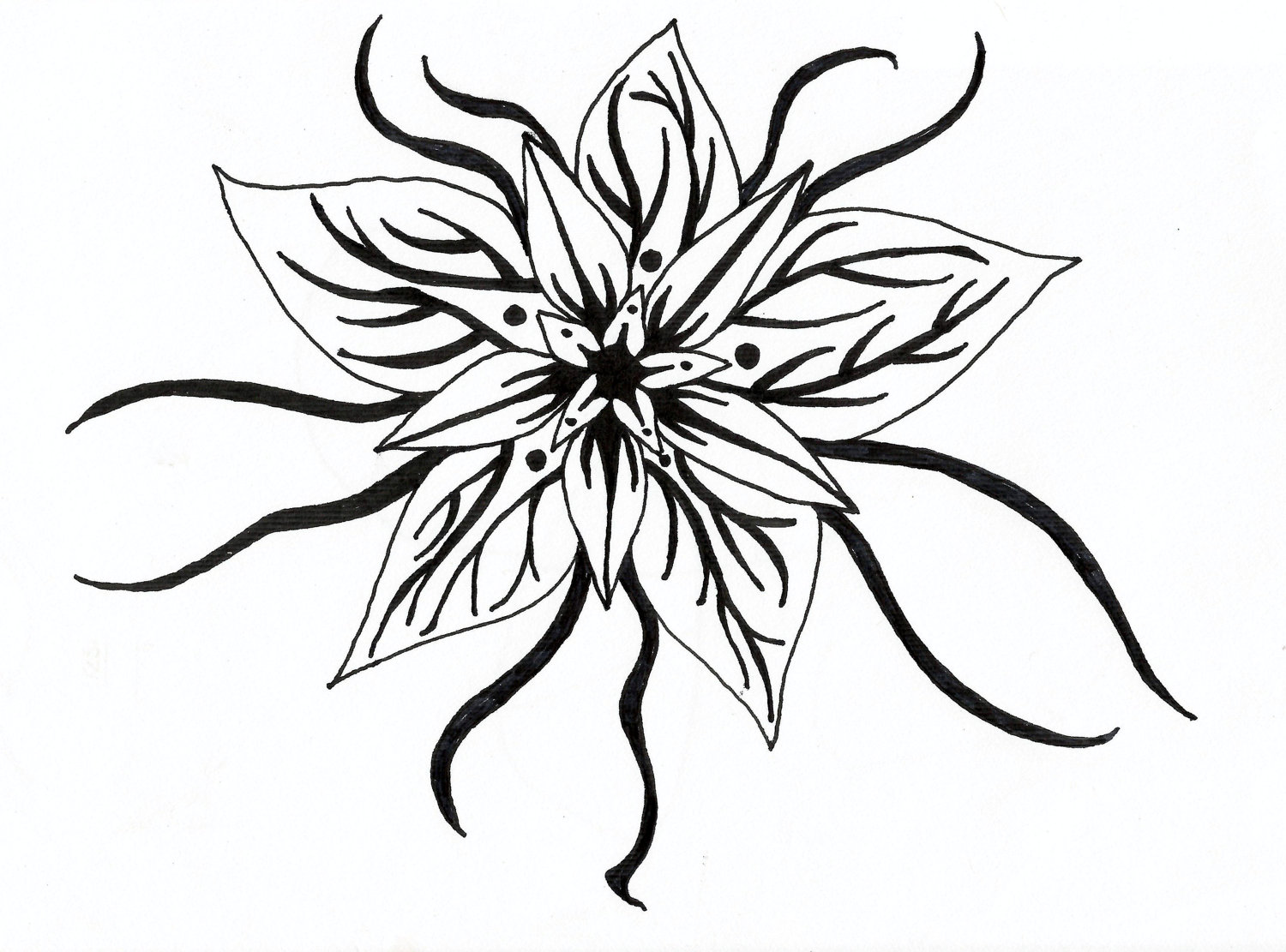 Simple Flower Designs Black And White