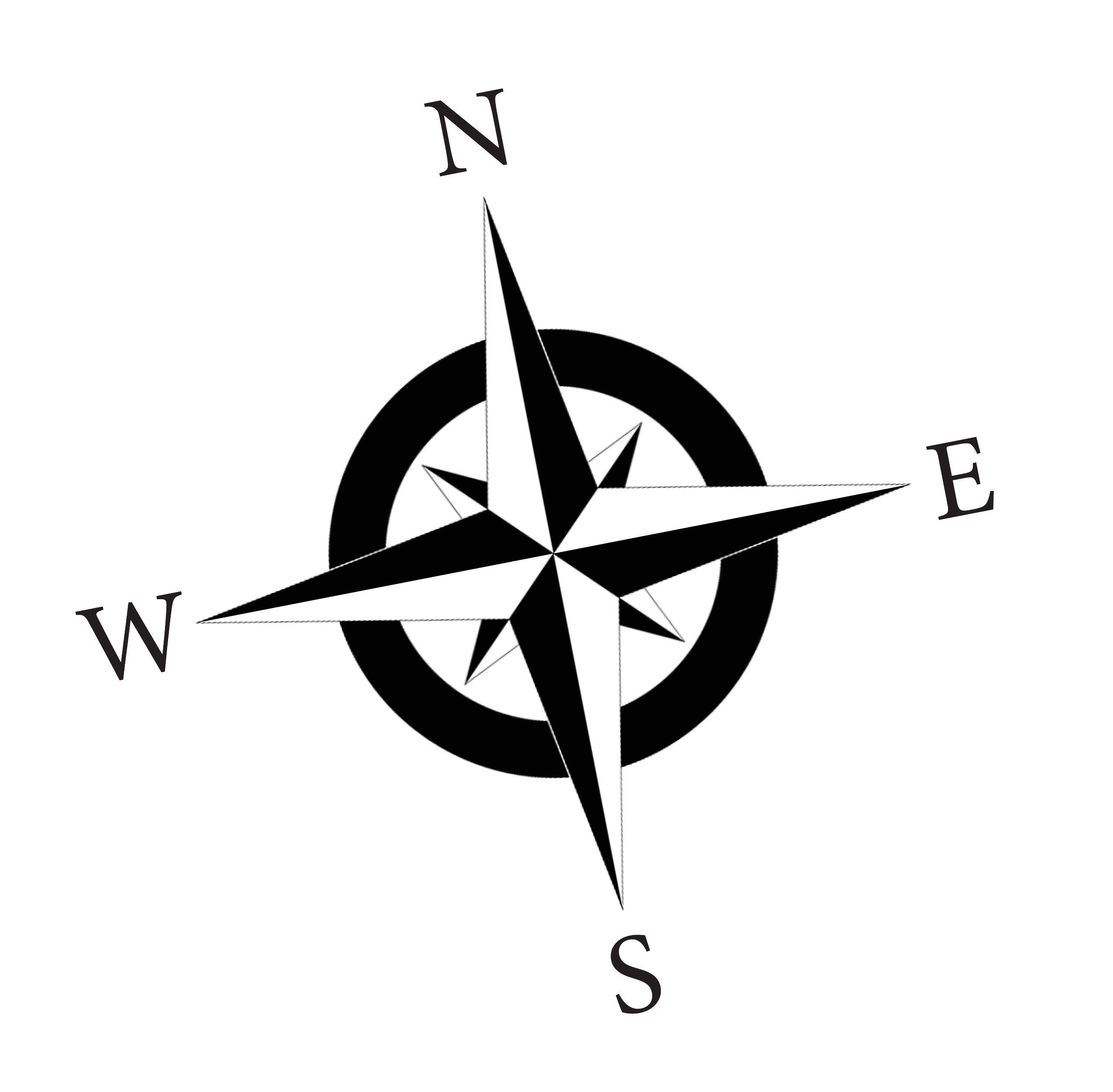 Compass Rose Nsew Bw Final