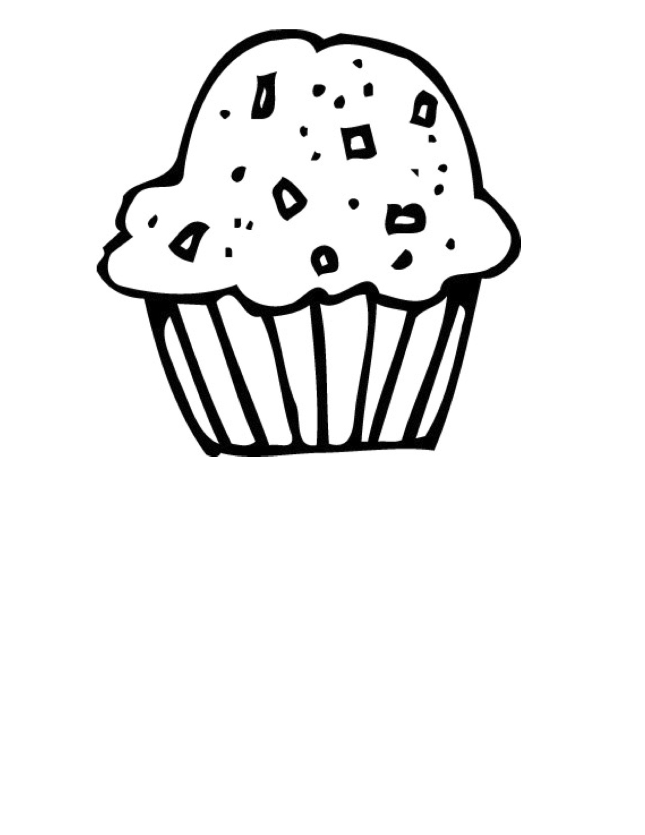 Cupcake Outline Clipart Black And White