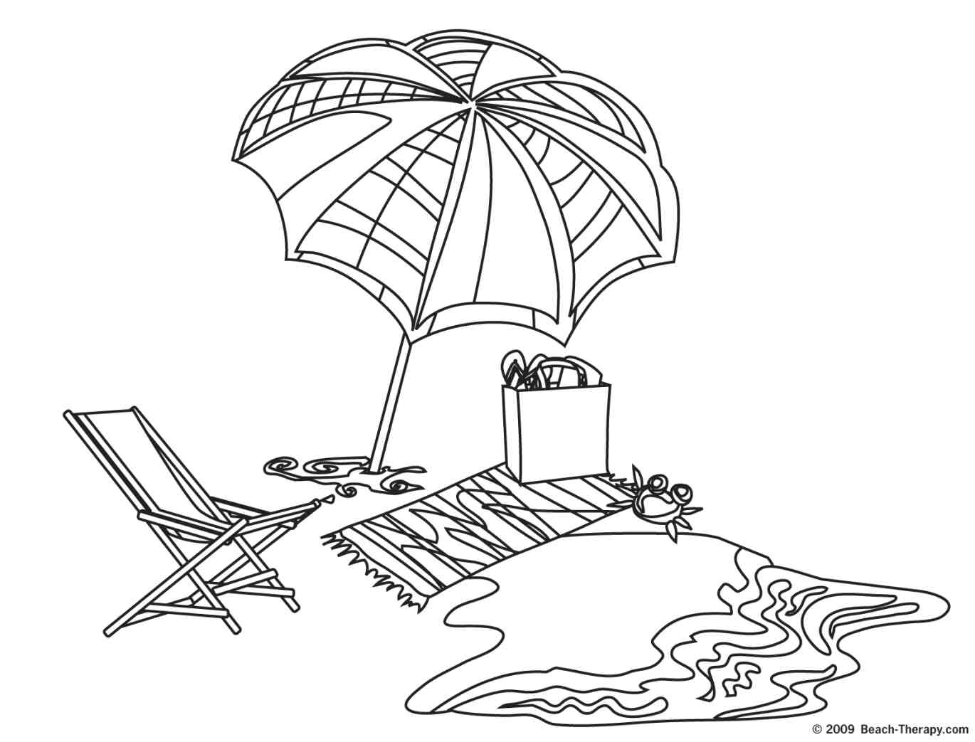 Beach Clipart Black And White