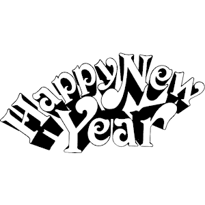 black and white happy new year