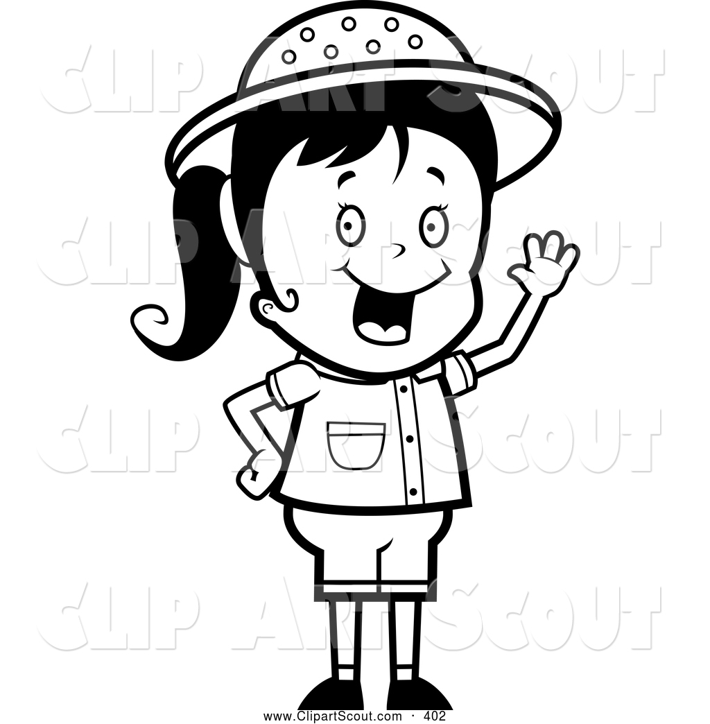 Clipart Of A Black And White Happy Safari Girl Waving By