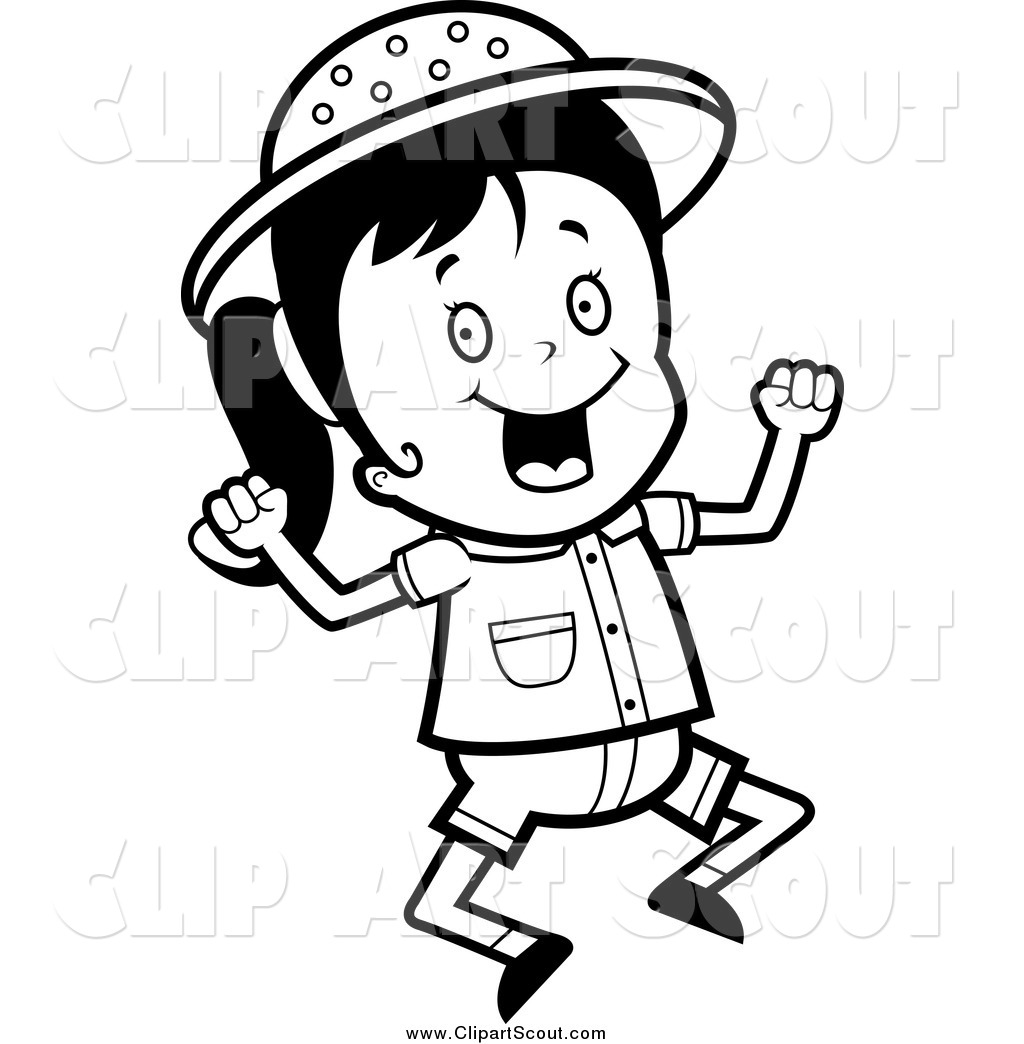 Clipart Of A Black And White Jumping Happy Safari Girl By