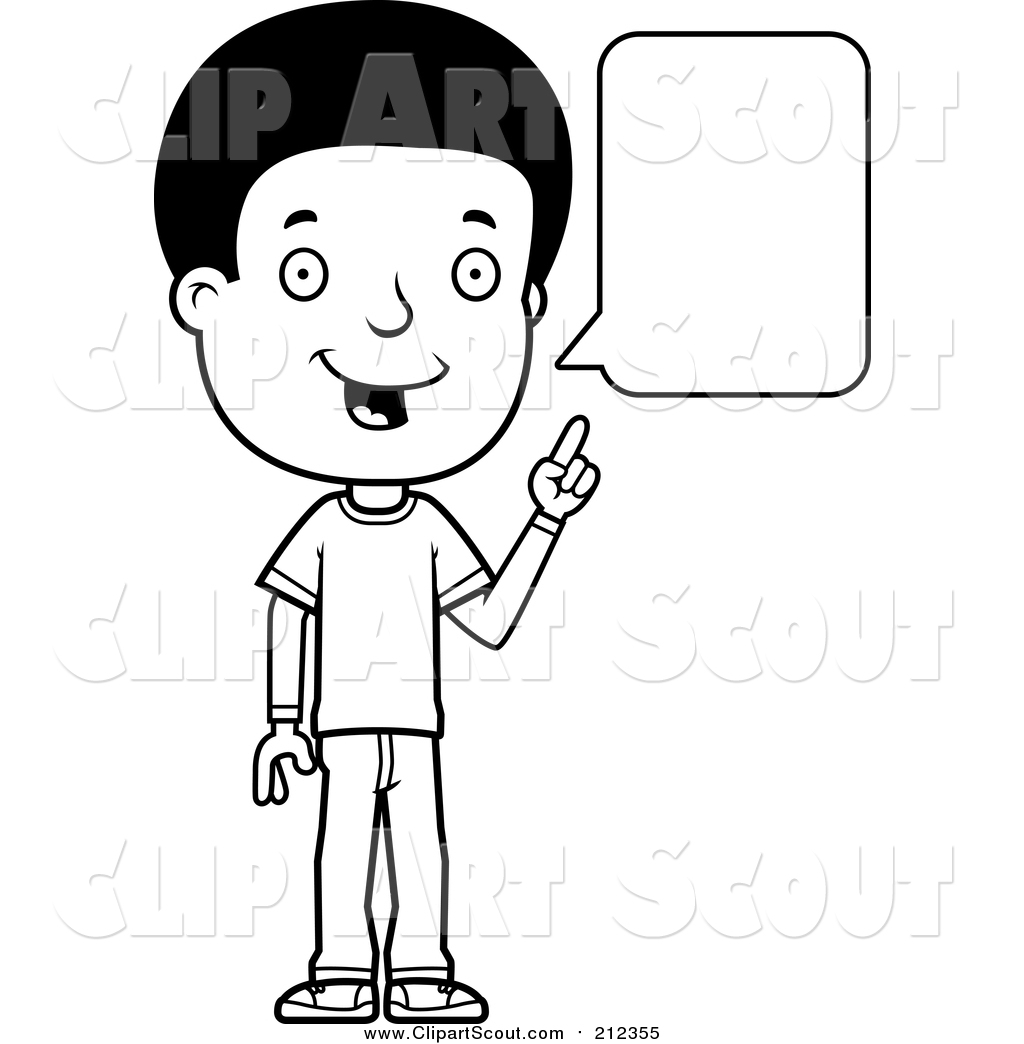 Clipart Of A Black And White Lineart Adolescent Teenage