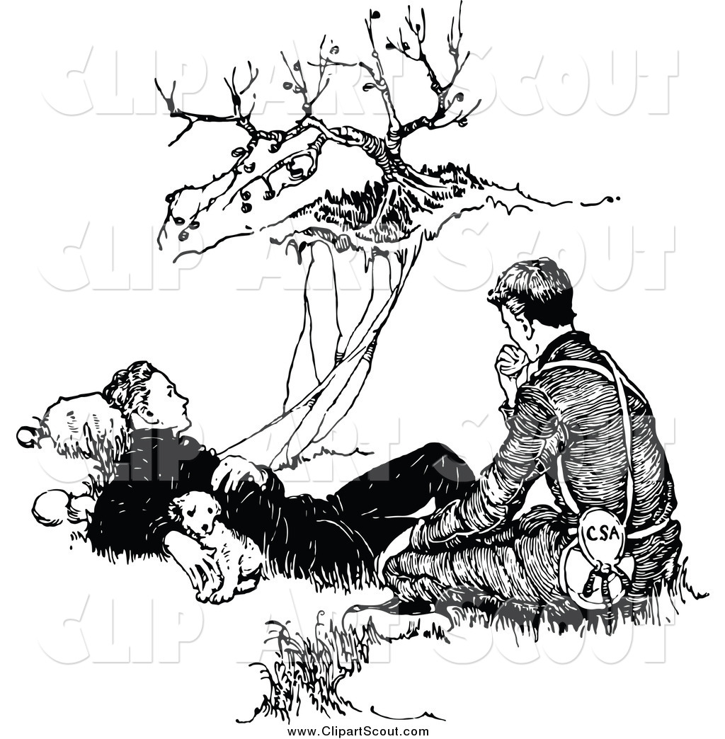 Clipart Of A Black And White Pupy And Two Men Resting By A