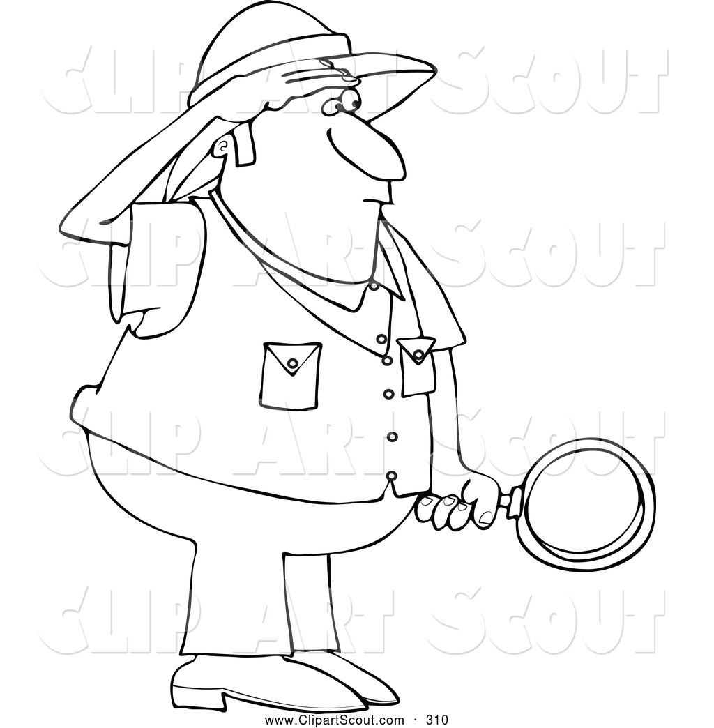 Clipart Of A Black And White Safari Man Holding A
