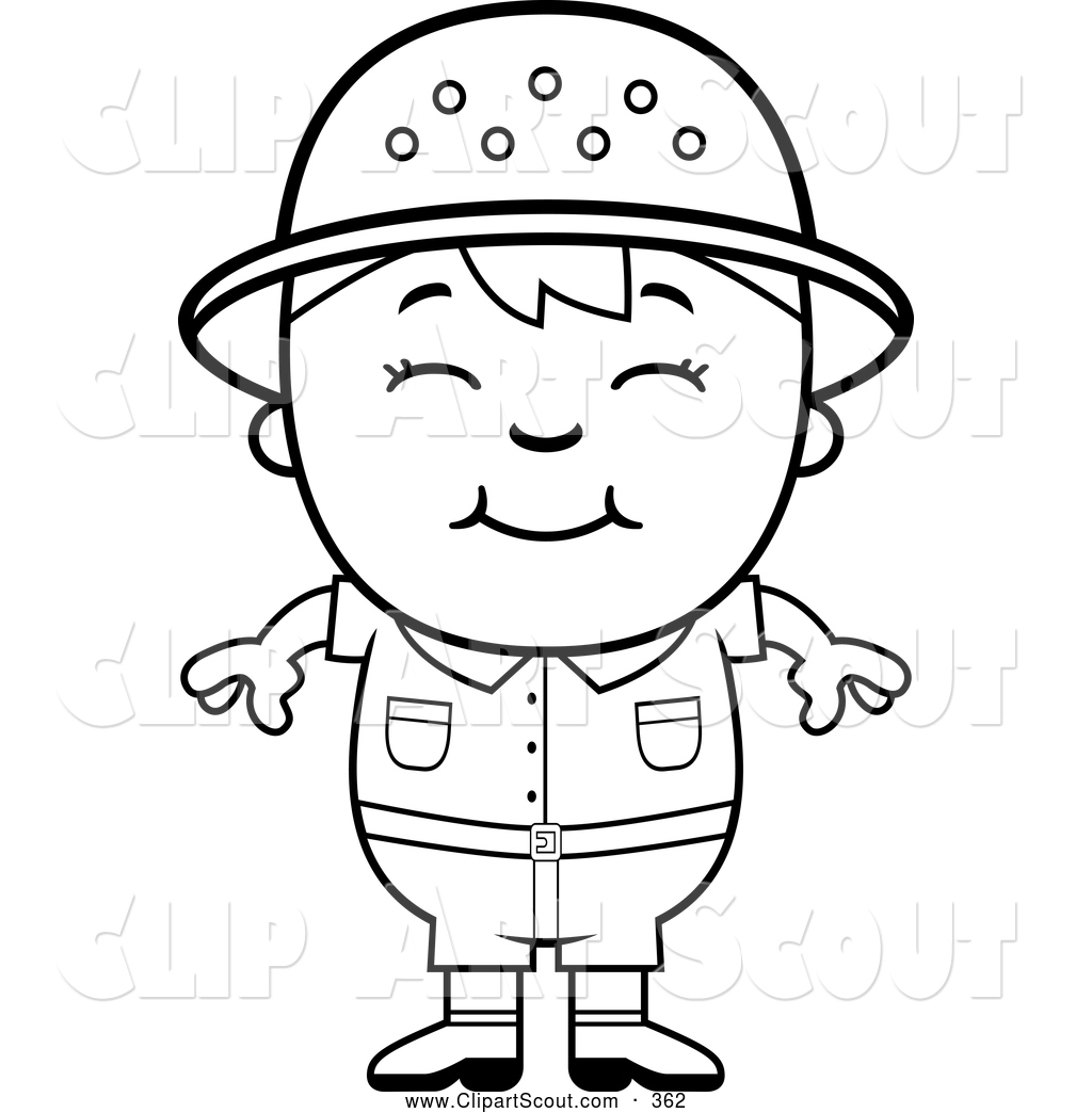 Clipart Of A Cute Black And White Happy Safari Boy By Cory