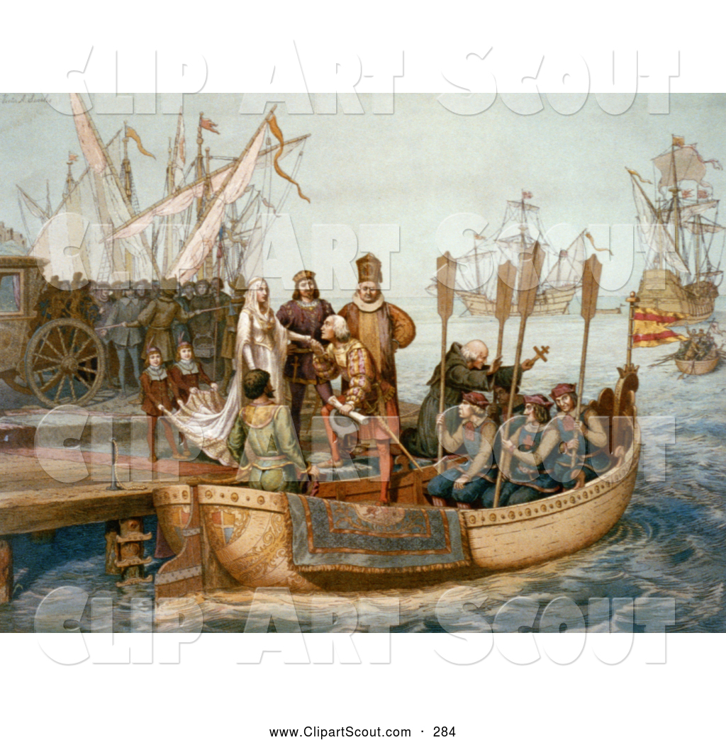 Clipart Of The First Voyage Of Christopher Columbus
