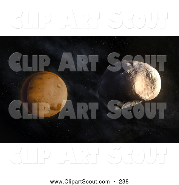 Clipart of a 3d Mars Planet by Mopic - #238