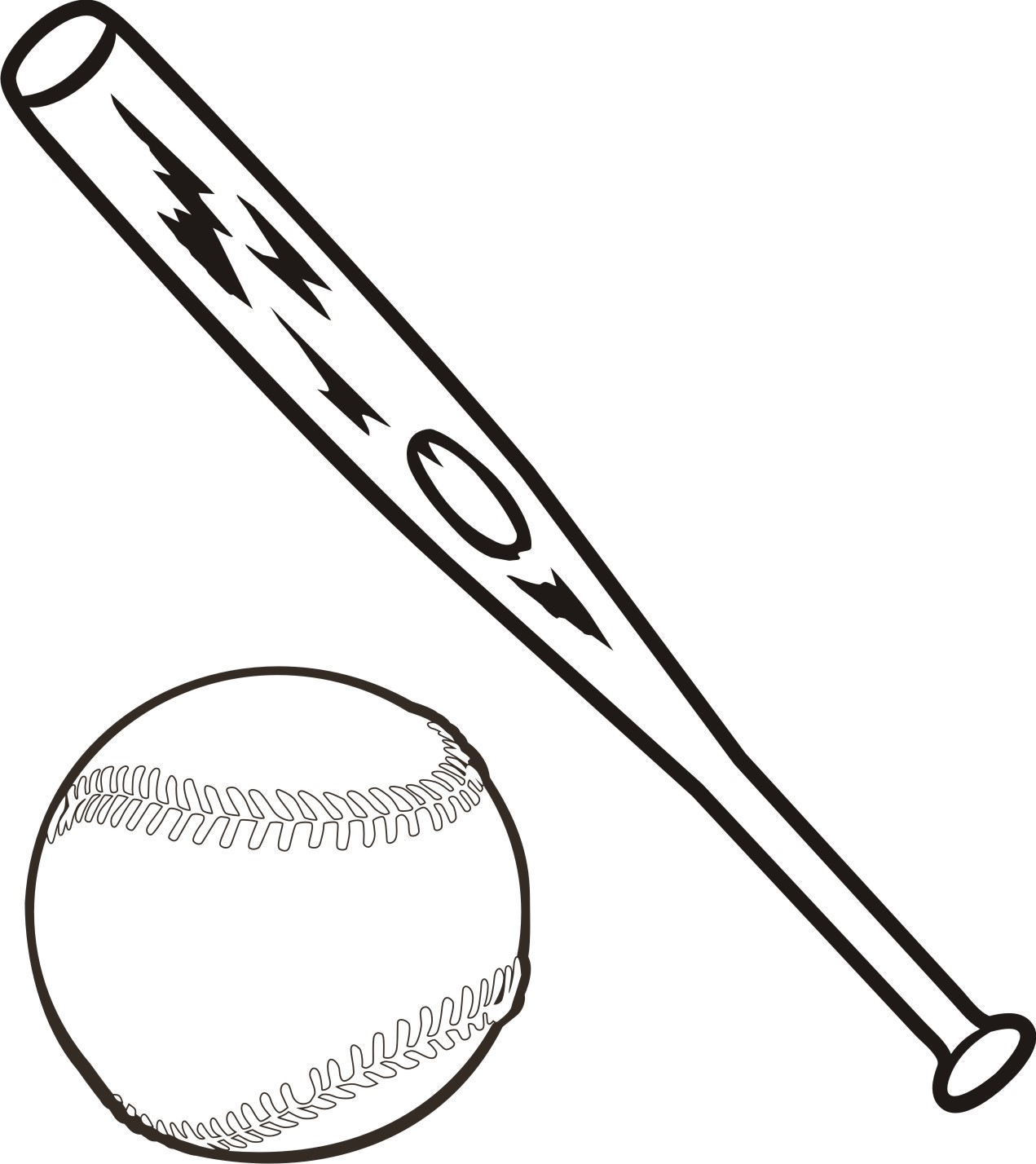 Baseball Bat And Ball Coloring Page Free Clip Art Image